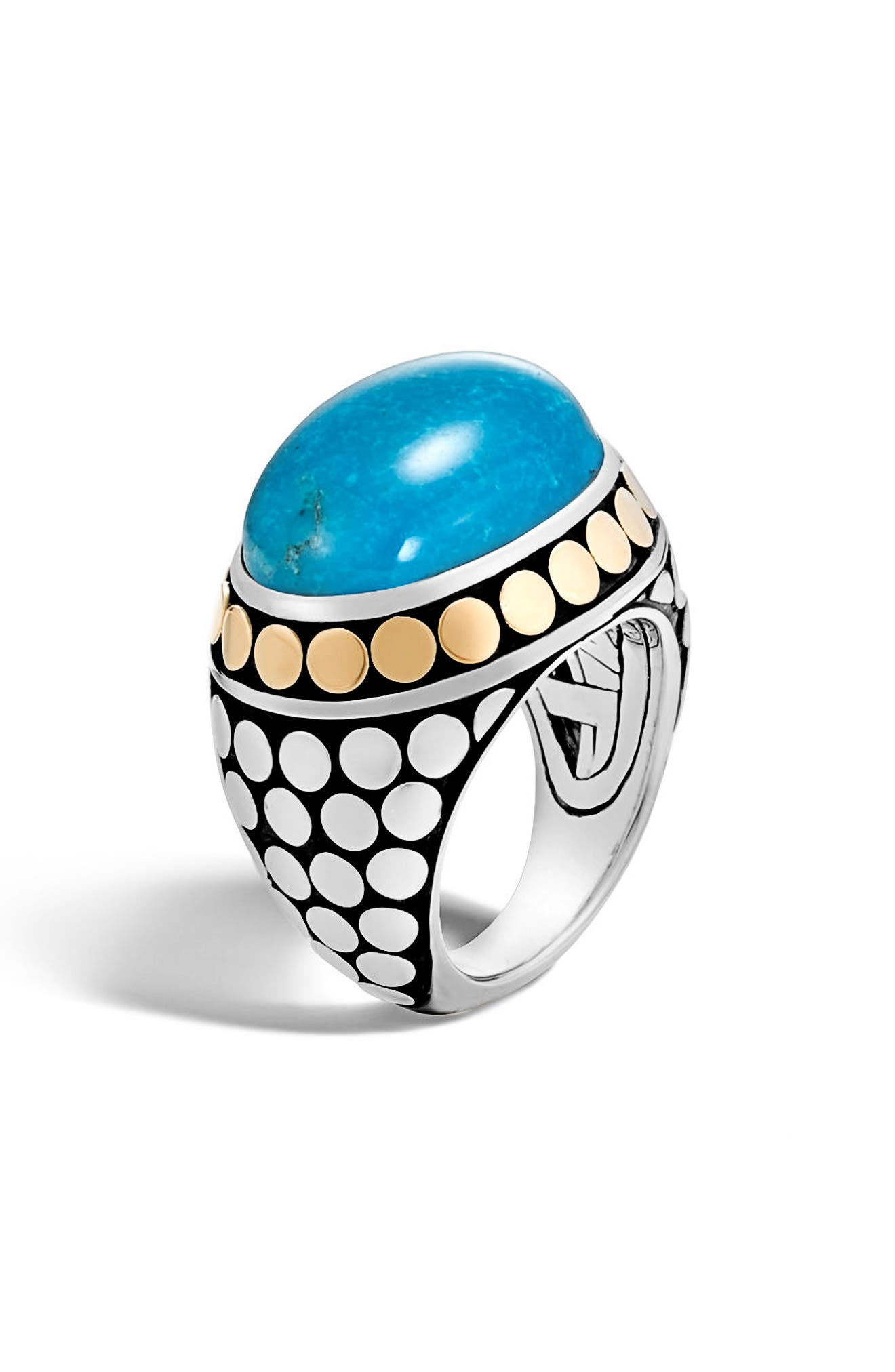 JOHN HARDY,                             Dot Silver & Turquoise Dome Ring,                             Main thumbnail 1, color,                             SILVER/ GOLD/ TURQUOISE