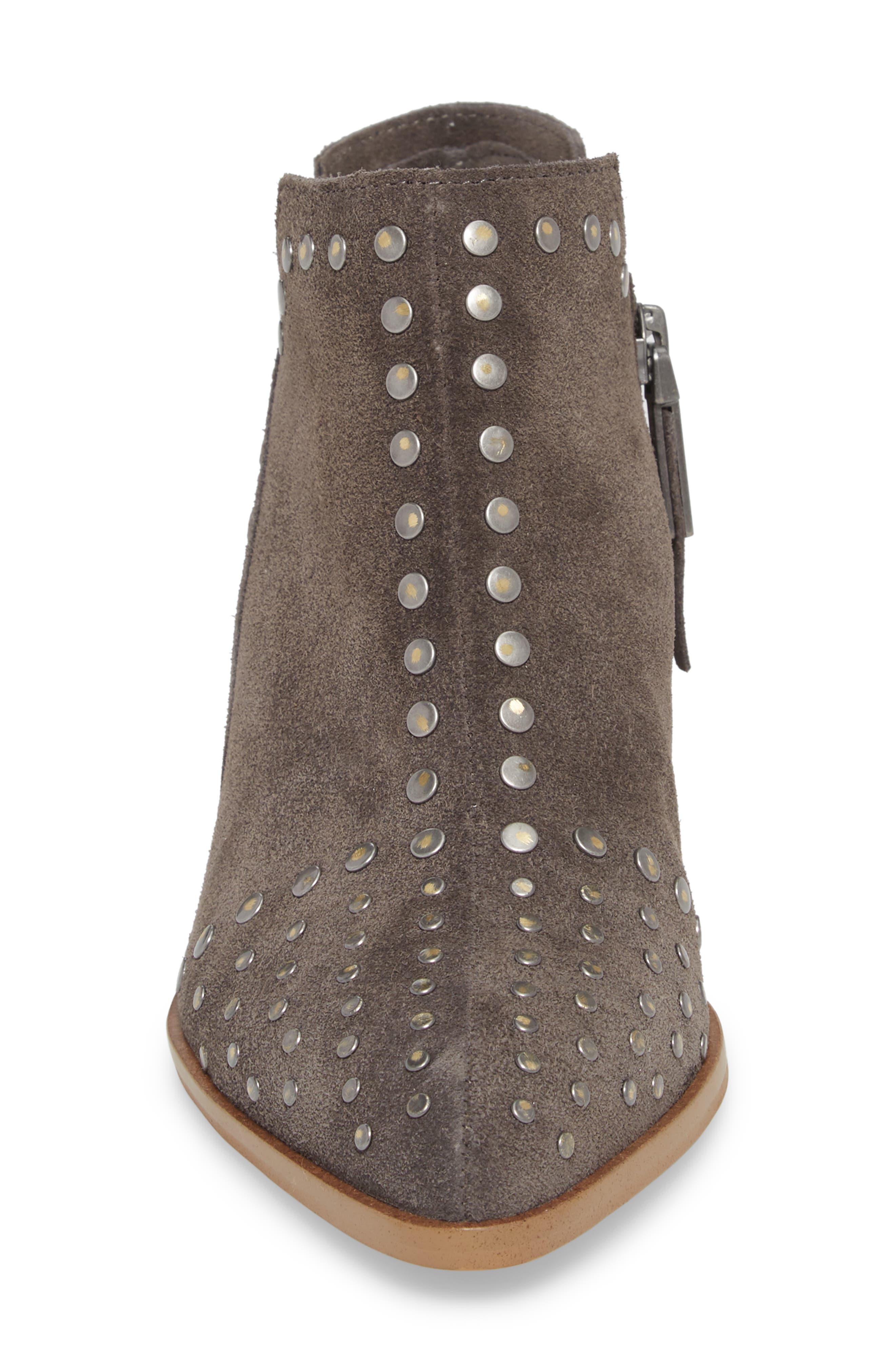 Loka Studded Bootie,                             Alternate thumbnail 4, color,                             CHARCOAL SUEDE
