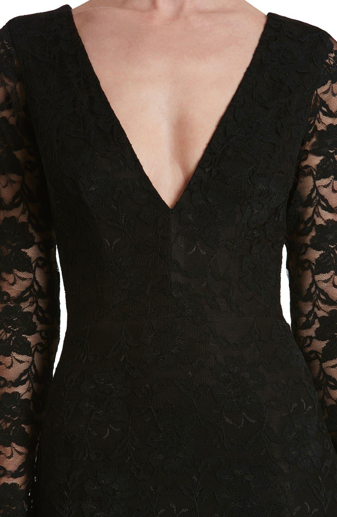 'Erica' Plunge Neck Lace Body-Con Dress,                             Alternate thumbnail 5, color,                             008