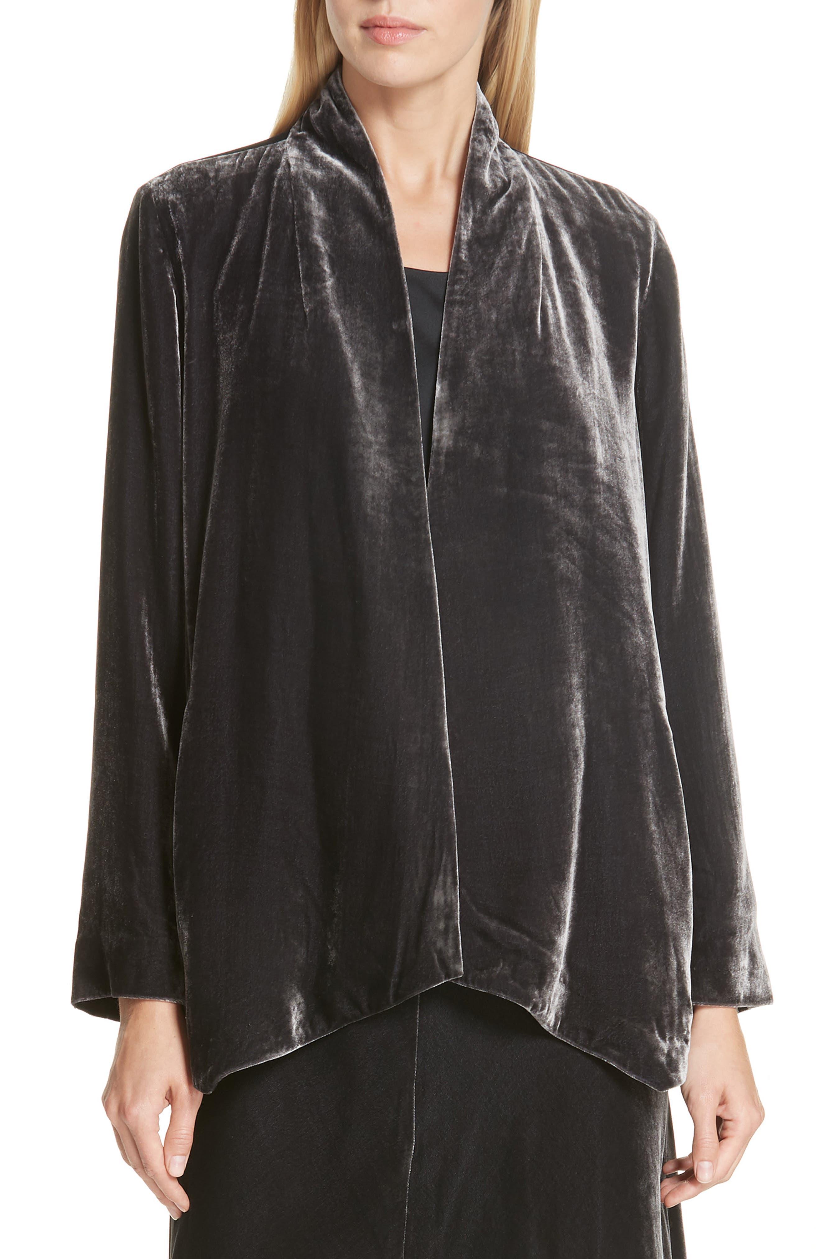 Angled Front Velvet Jacket,                         Main,                         color, CHARCOAL