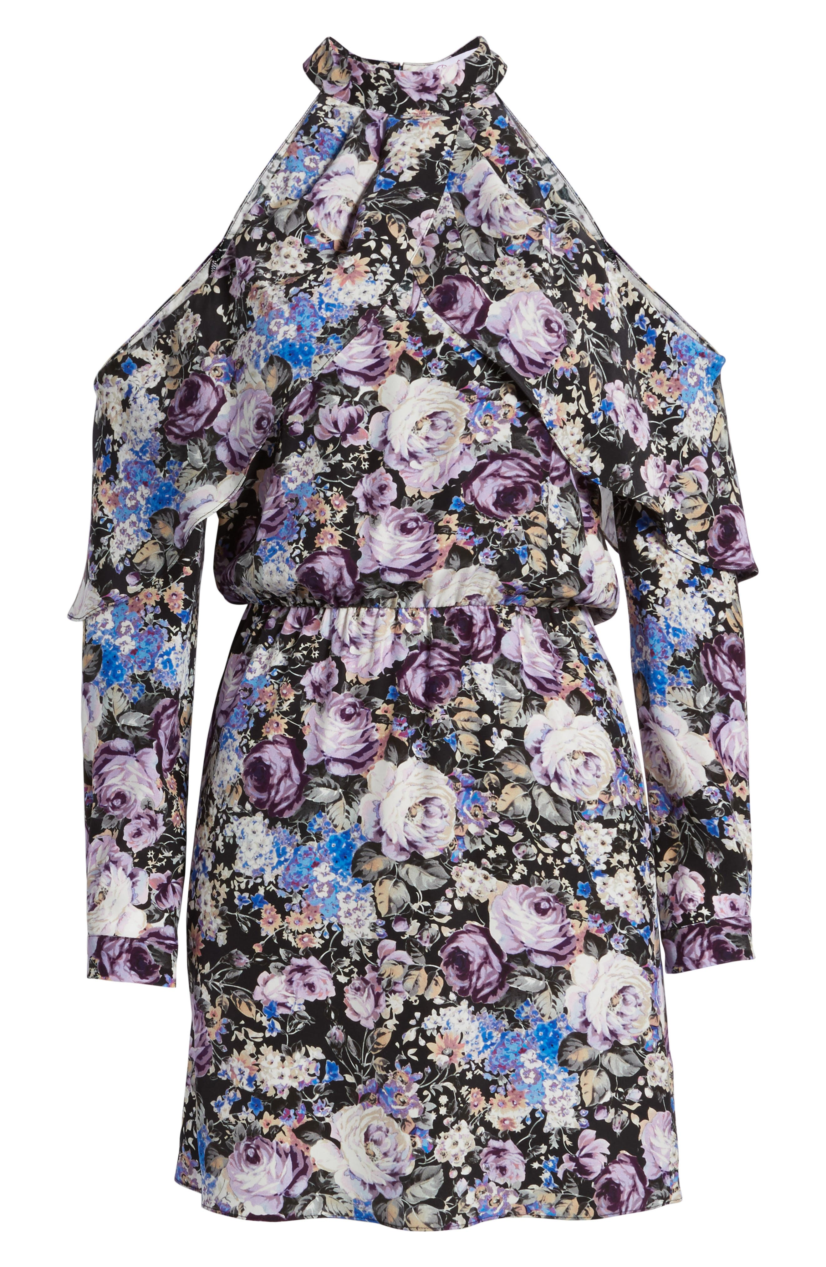 Noemi Cold Shoulder Silk Dress,                             Alternate thumbnail 6, color,                             500