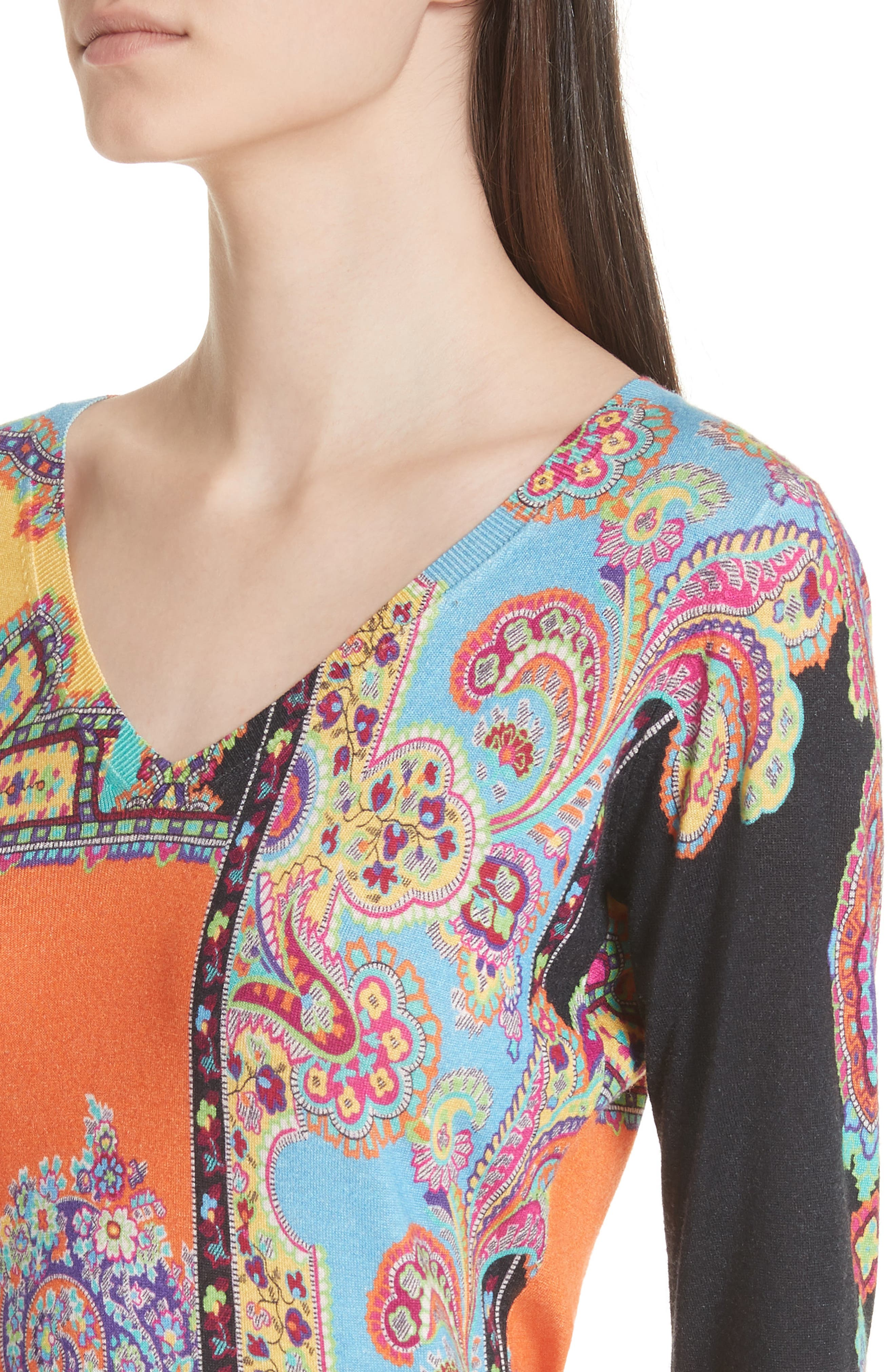 Harlem Paisley Silk & Cashmere Sweater,                             Alternate thumbnail 4, color,                             800