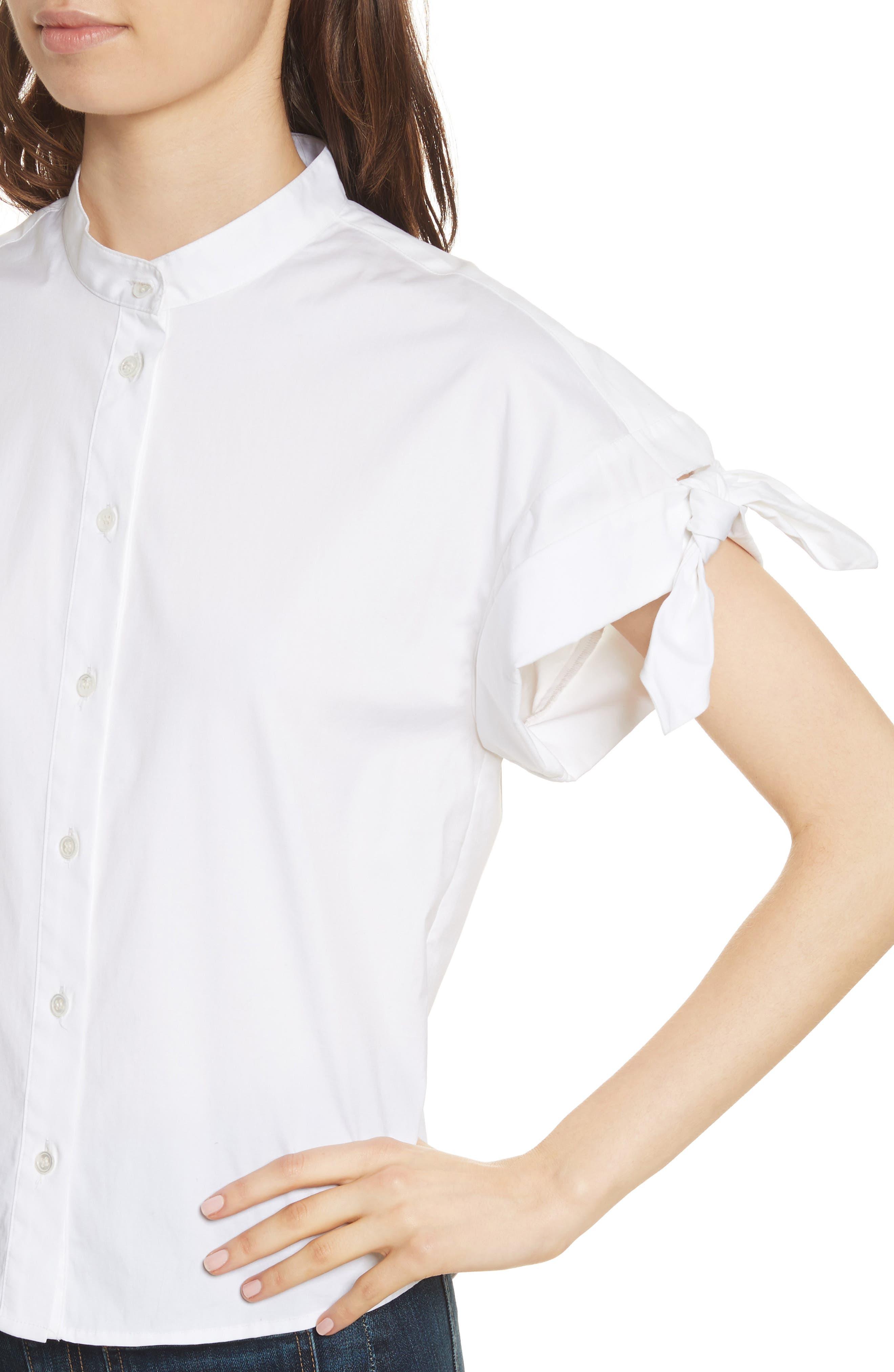 Sanaa Stretch Cotton Shirt,                             Alternate thumbnail 4, color,                             100