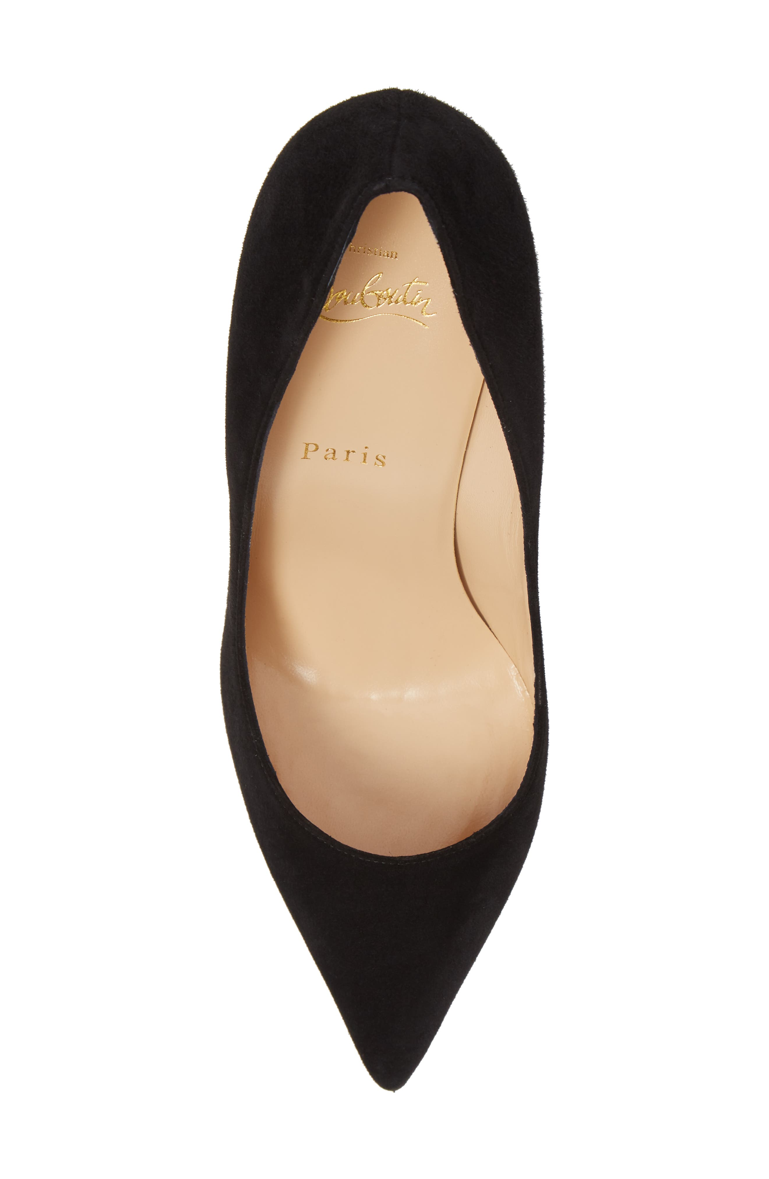 CHRISTIAN LOUBOUTIN,                             Pigalle Pointy Toe Pump,                             Alternate thumbnail 5, color,                             BLACK SUEDE
