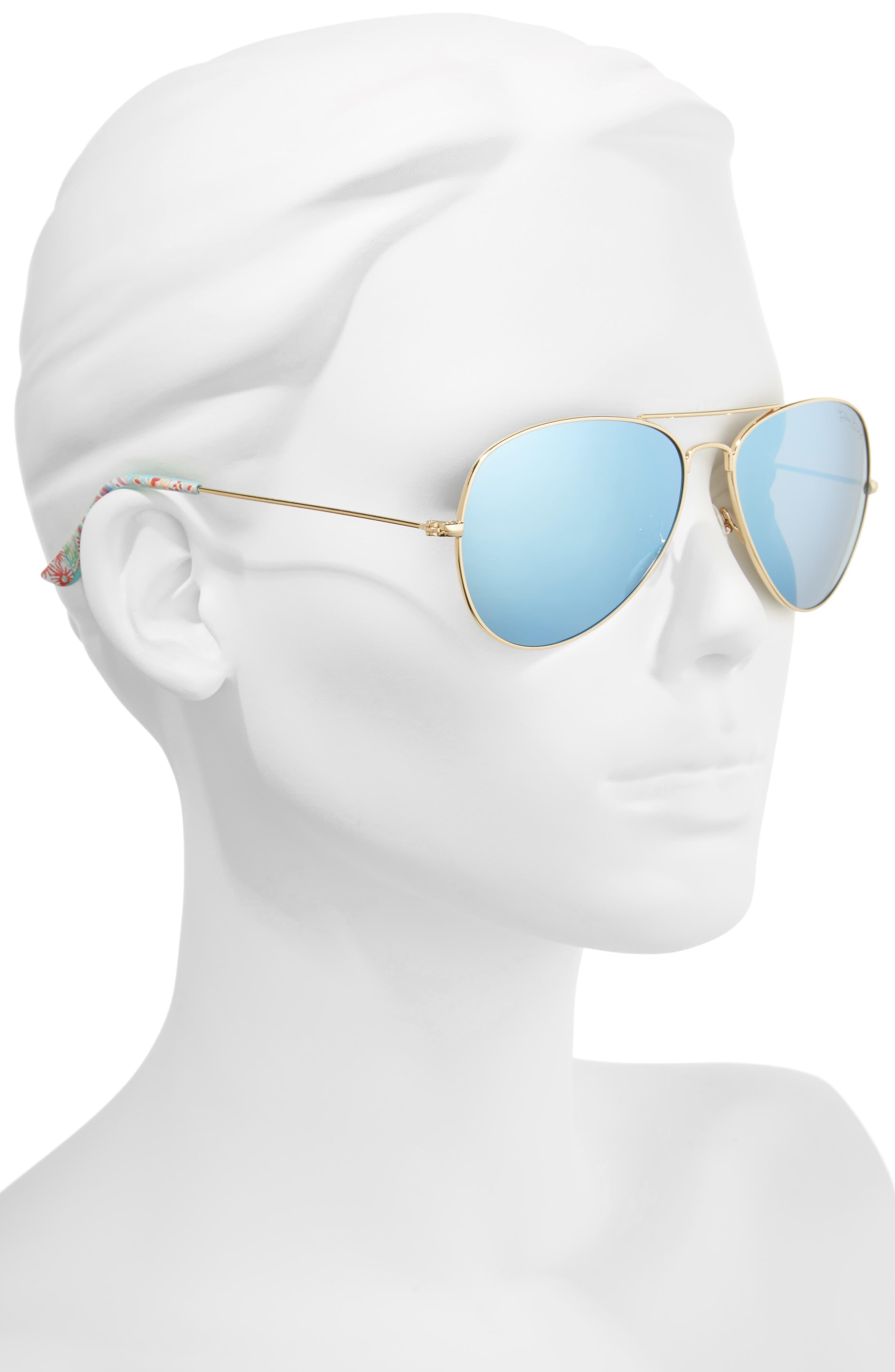 Lexy 59mm Polarized Aviator Sunglasses,                             Alternate thumbnail 2, color,                             BLUE 2