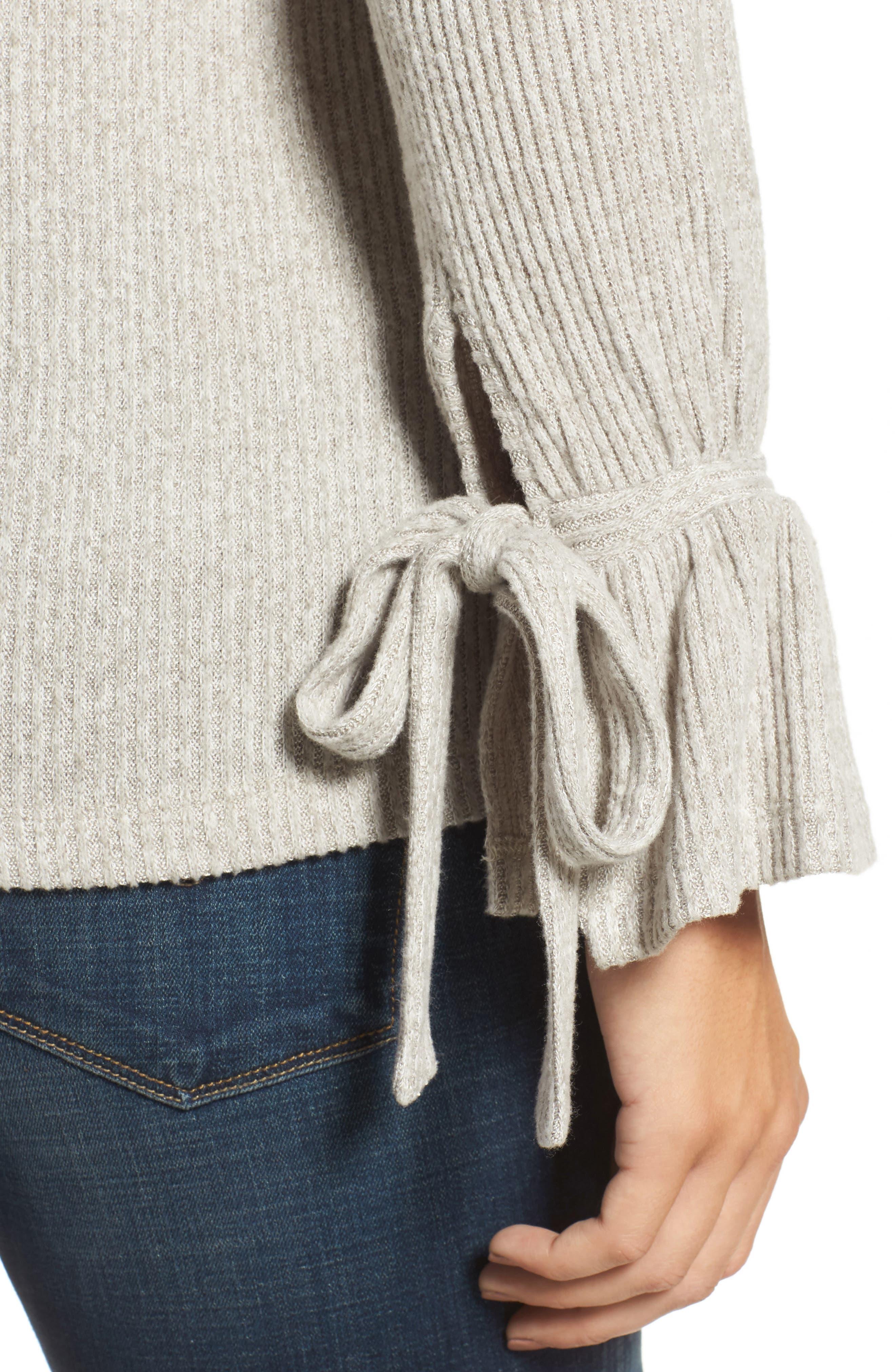 Tie Sleeve Rib Pullover,                             Alternate thumbnail 4, color,                             030