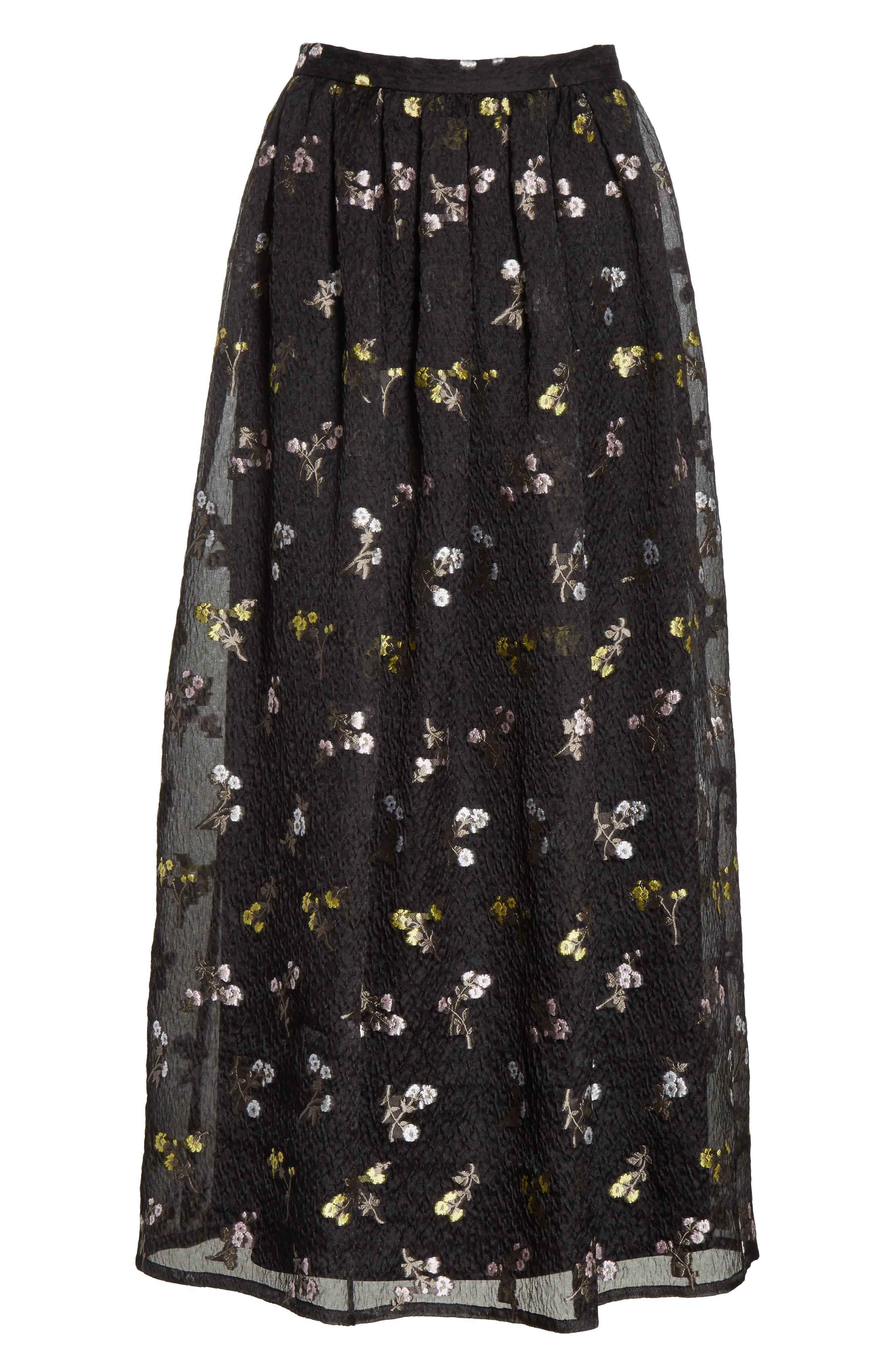 Floral Fil Coupé Organza Cloque Maxi Skirt,                             Alternate thumbnail 6, color,                             001