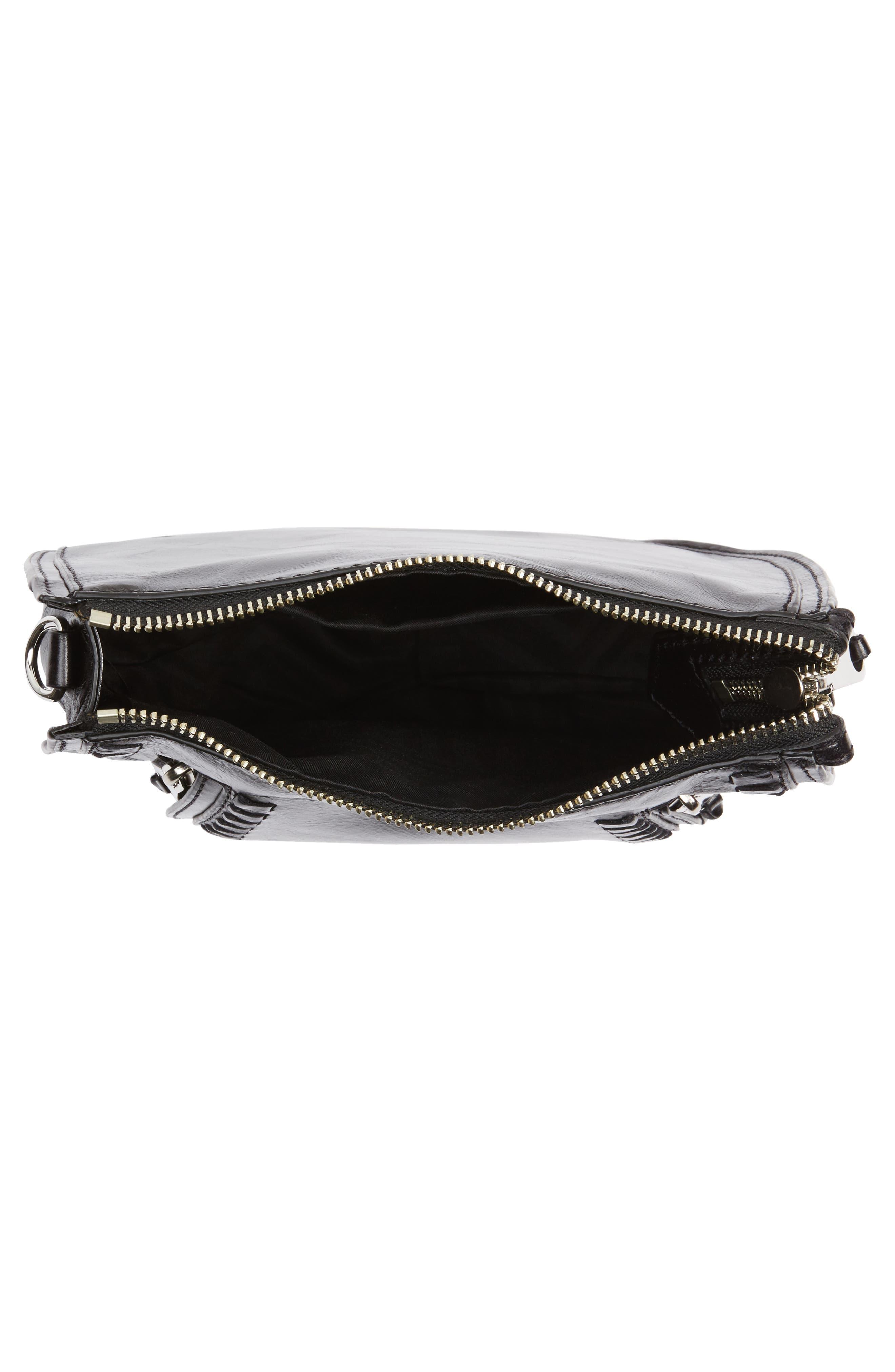Mini Vanity Leather Saddle Bag,                             Alternate thumbnail 4, color,                             001