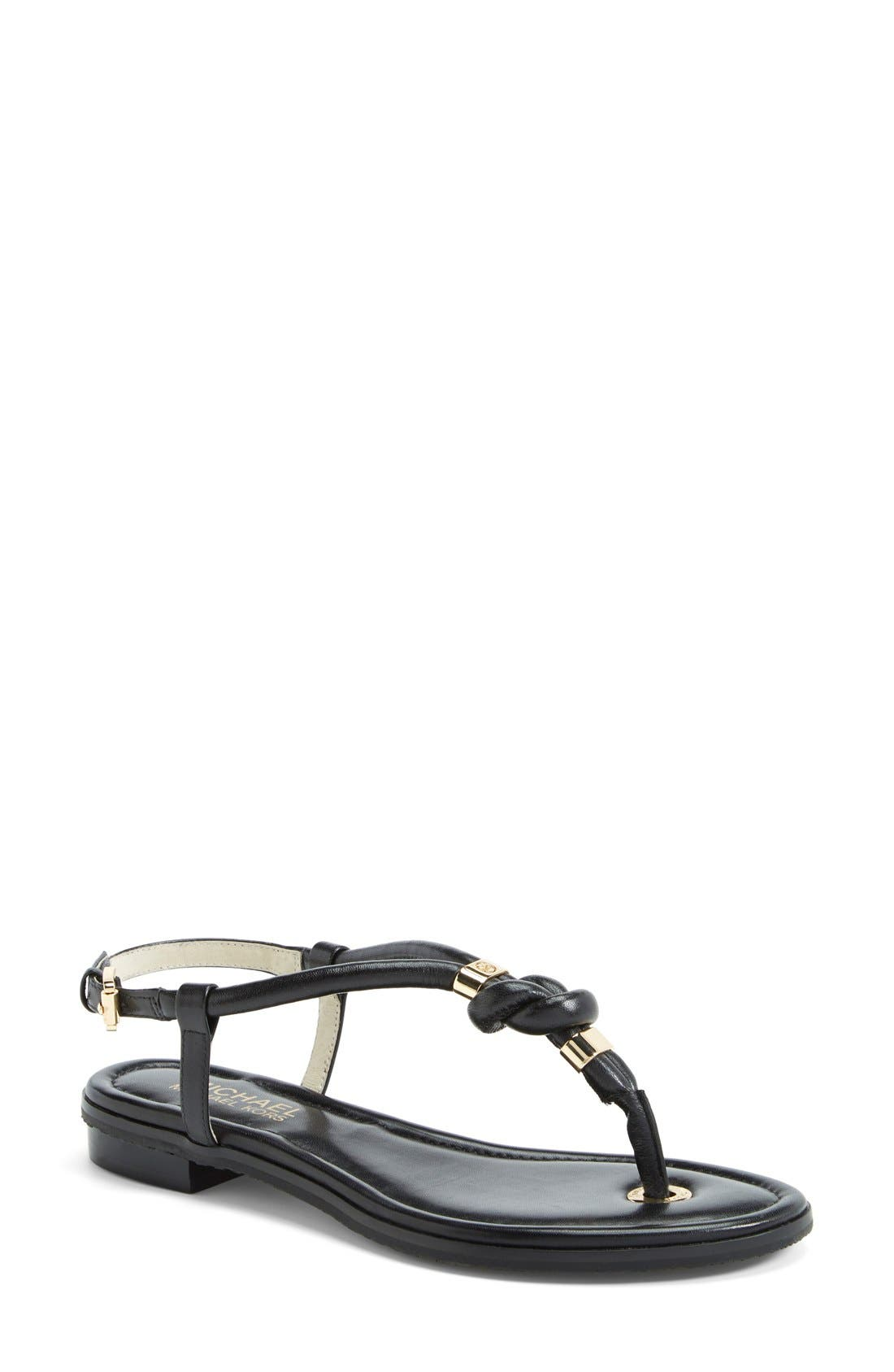'Holly' Leather Thong Sandal, Main, color, 001