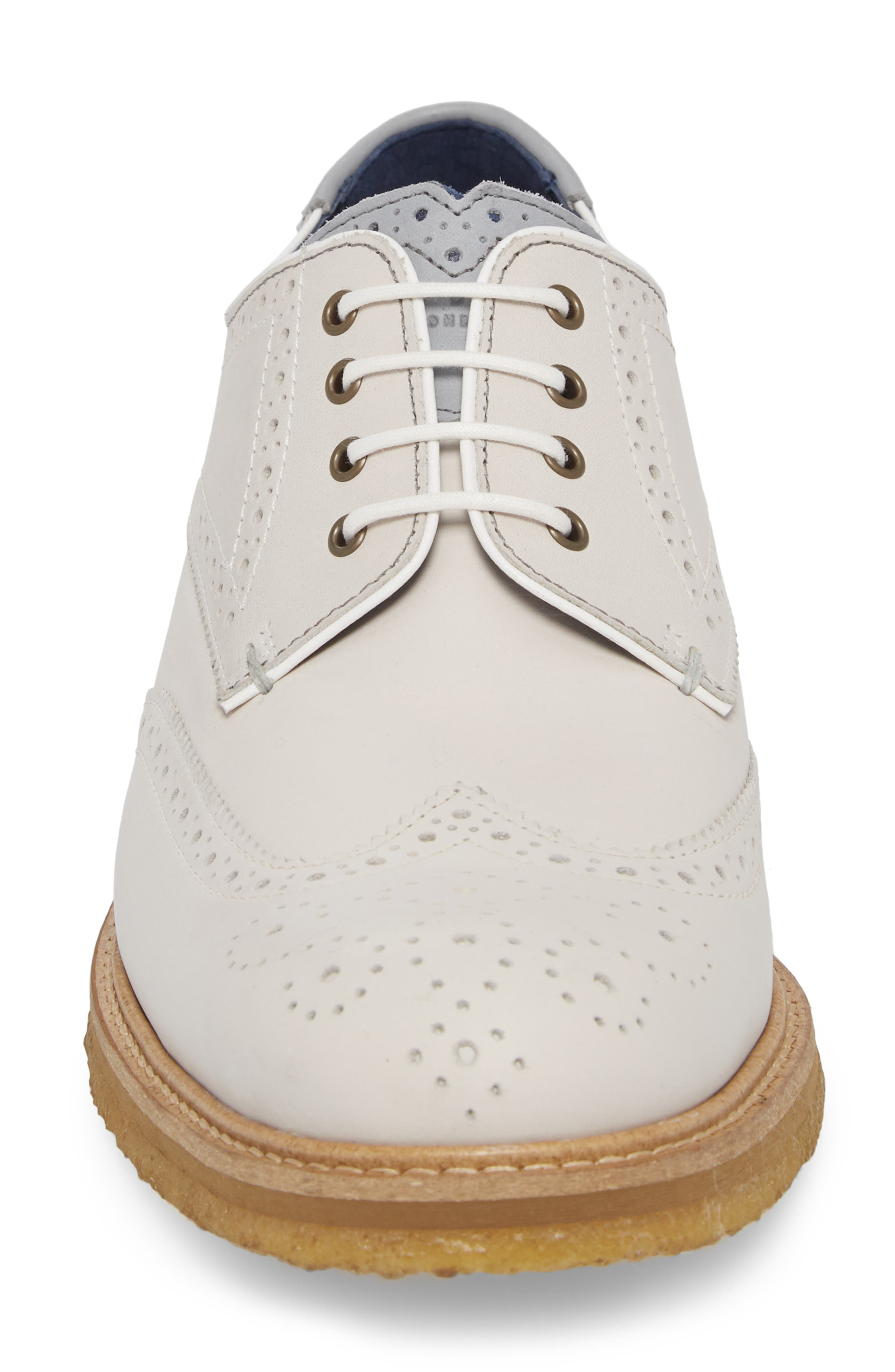 Prycce Wingtip Derby,                             Alternate thumbnail 4, color,                             WHITE SUEDE