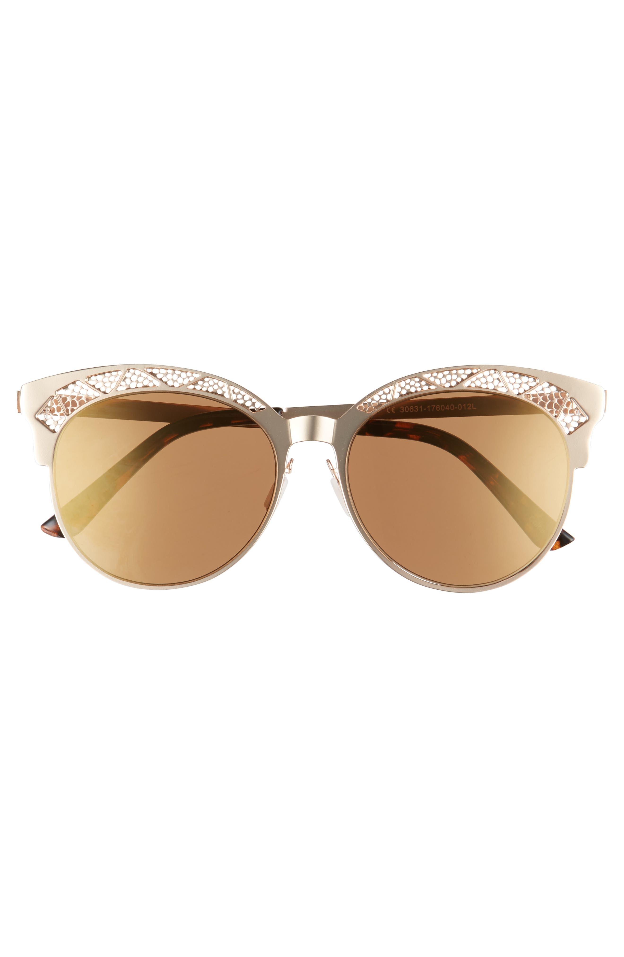 56mm Round Sunglasses,                             Alternate thumbnail 3, color,                             710