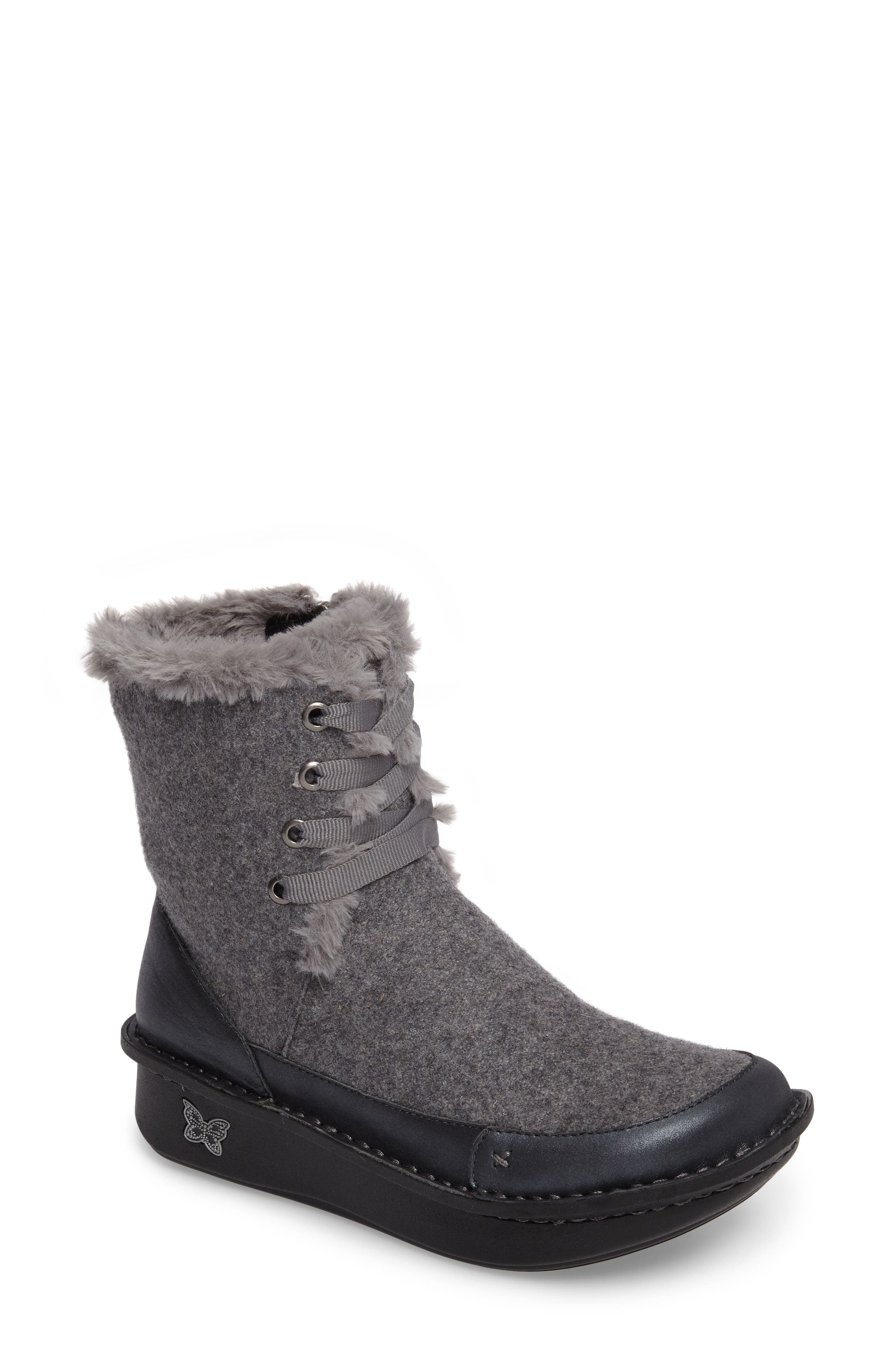 Twisp Lace-Up Boot with Faux Fur Lining,                             Main thumbnail 1, color,