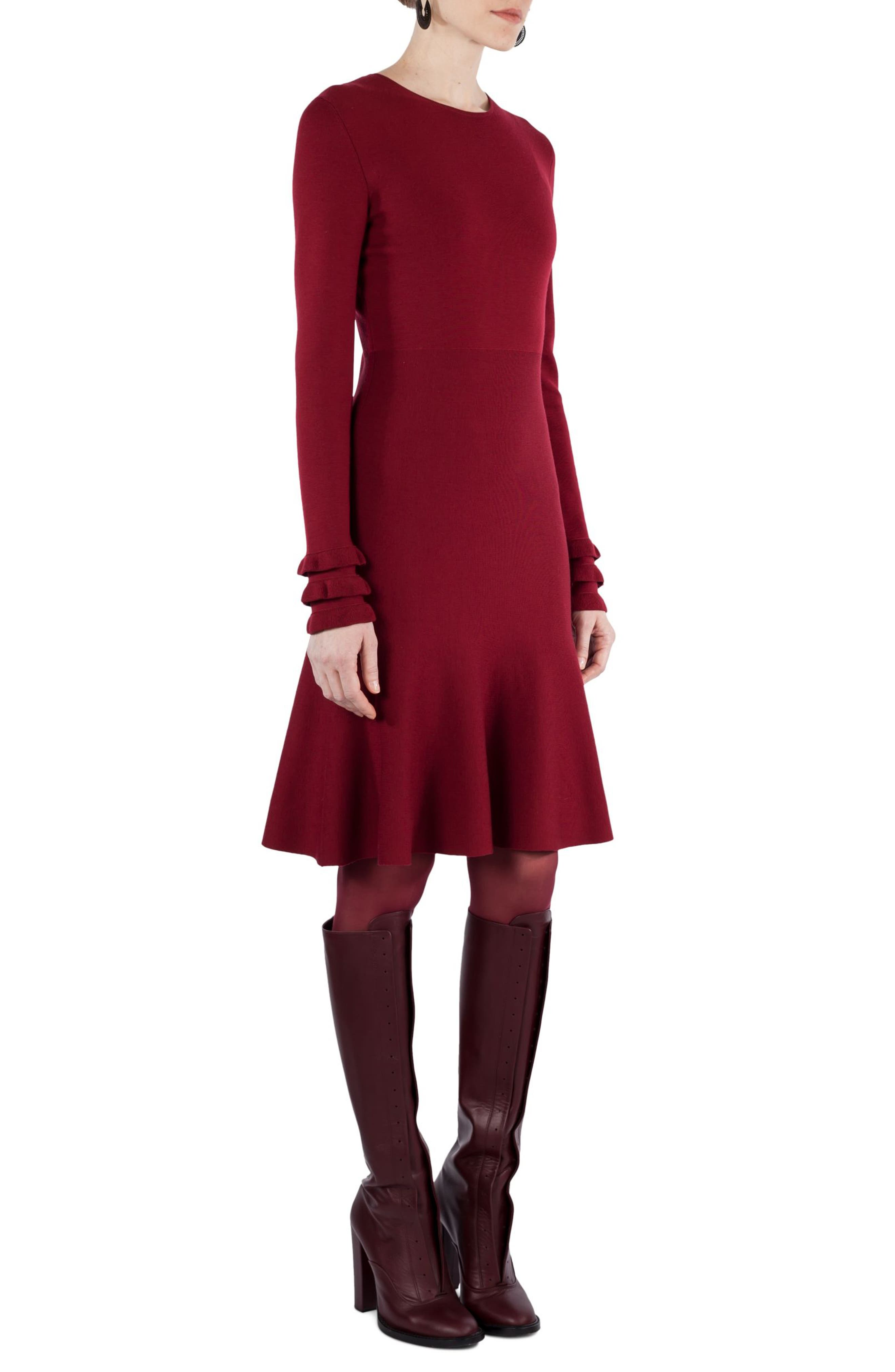 Knit Stretch Wool Dress,                             Alternate thumbnail 3, color,                             930