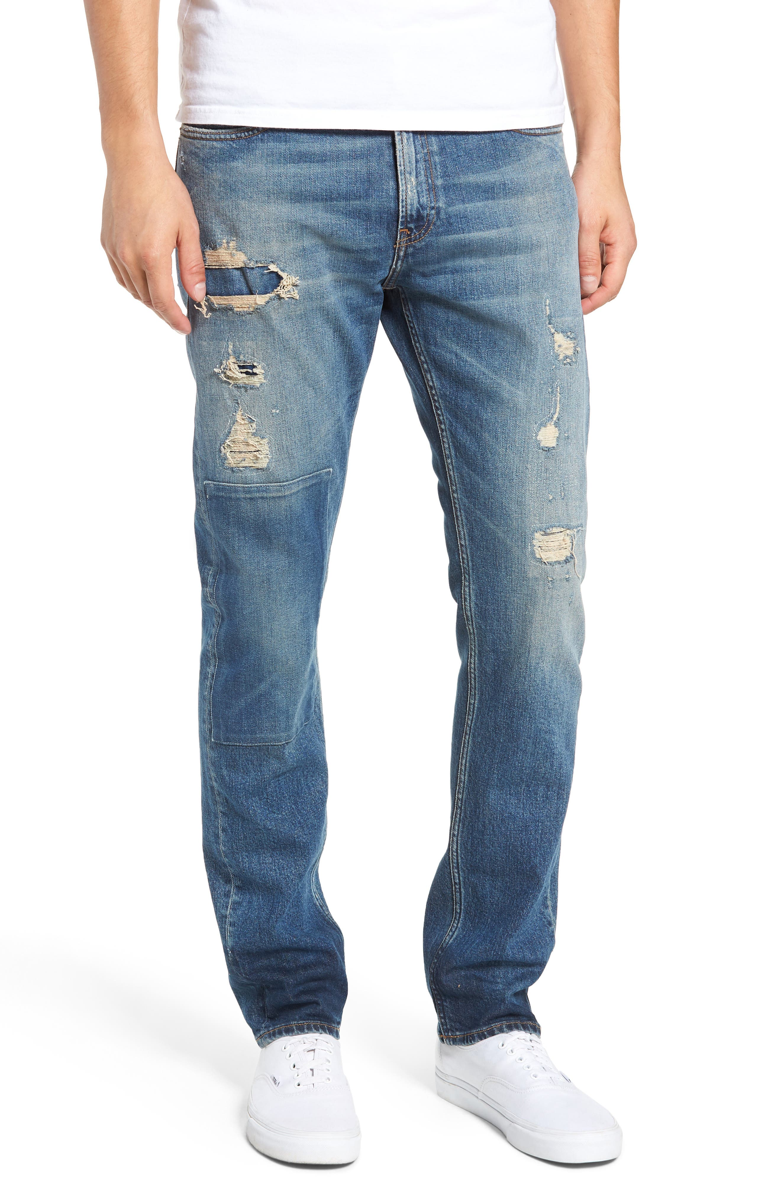 Slim Patch Destroyed Jeans,                         Main,                         color, ROSE BOWL BLUE