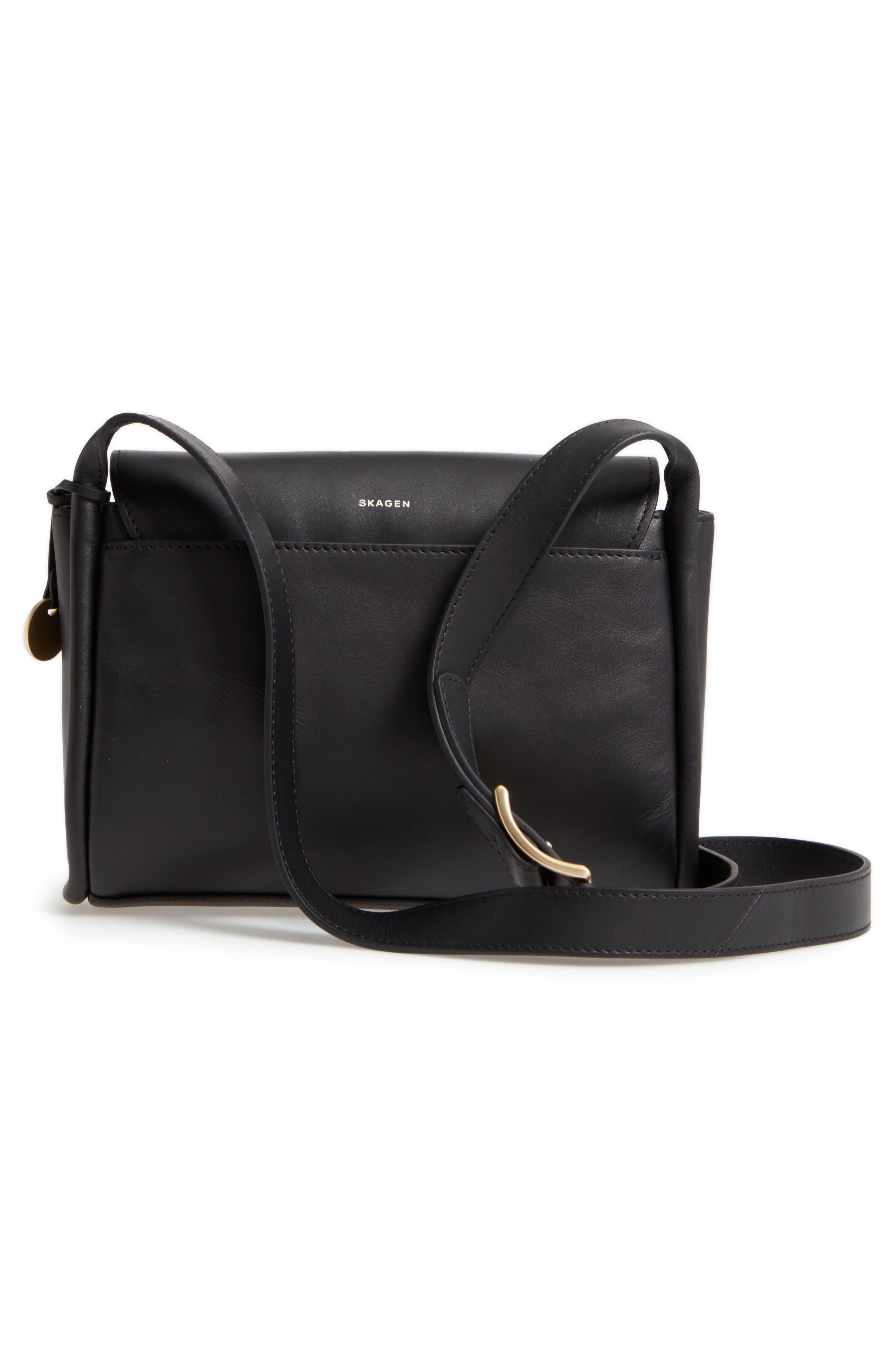 Sylvi Leather Crossbody Bag,                             Alternate thumbnail 3, color,                             001