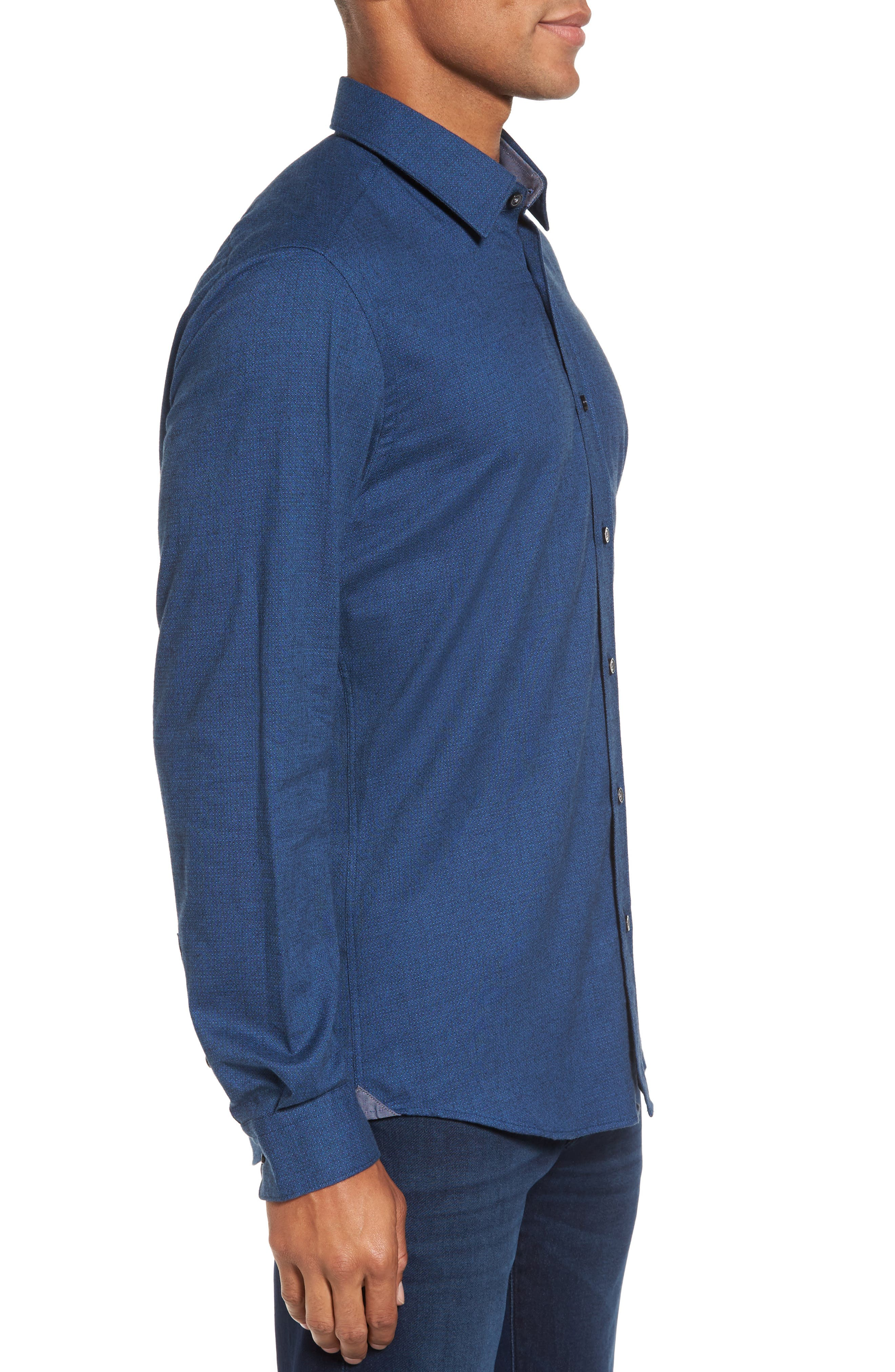 Lukas Regular Fit Microprint Flannel Sport Shirt,                             Alternate thumbnail 3, color,