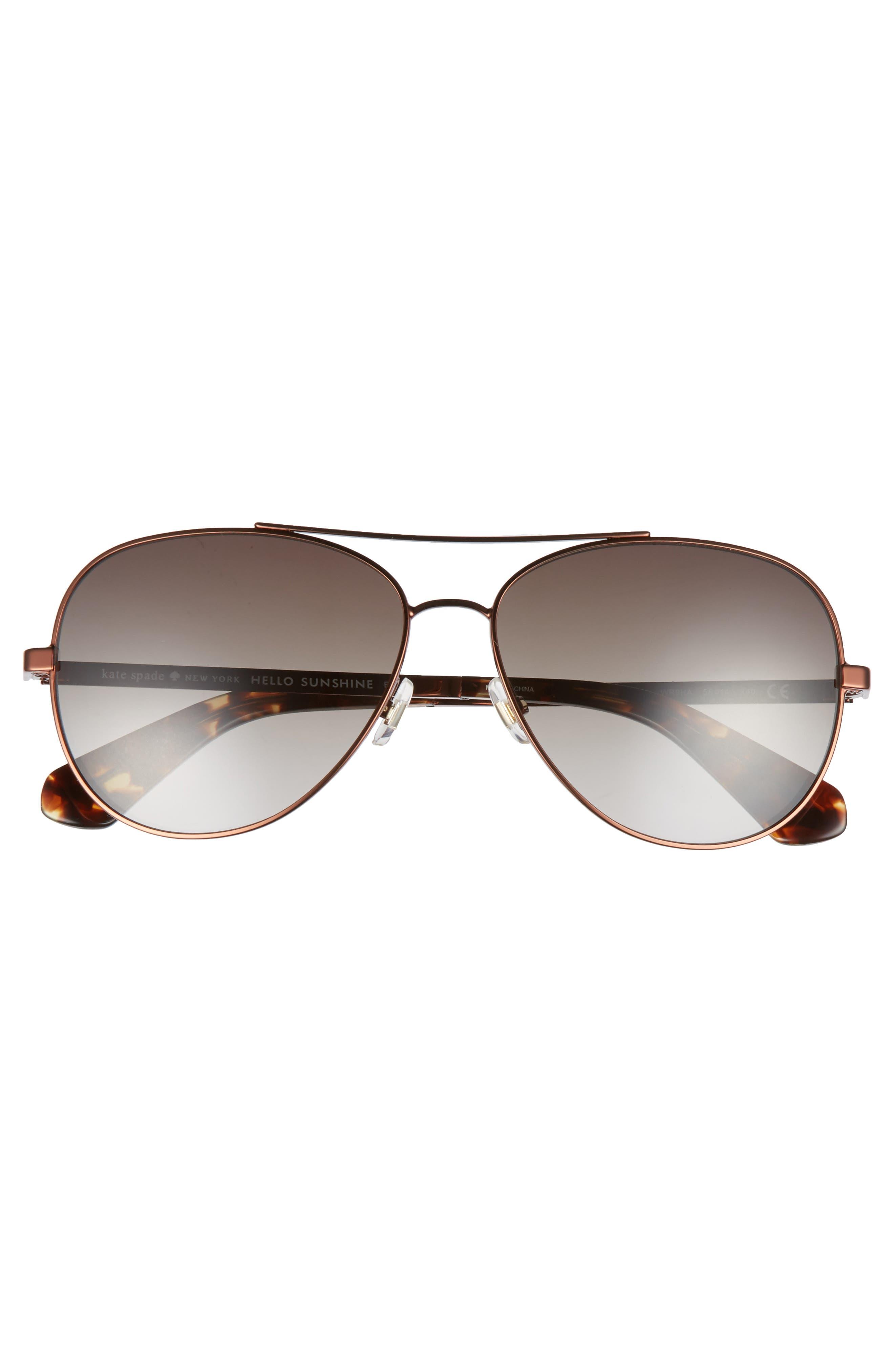 avaline 58mm aviator sunglasses,                             Alternate thumbnail 3, color,                             BROWN HAVANA