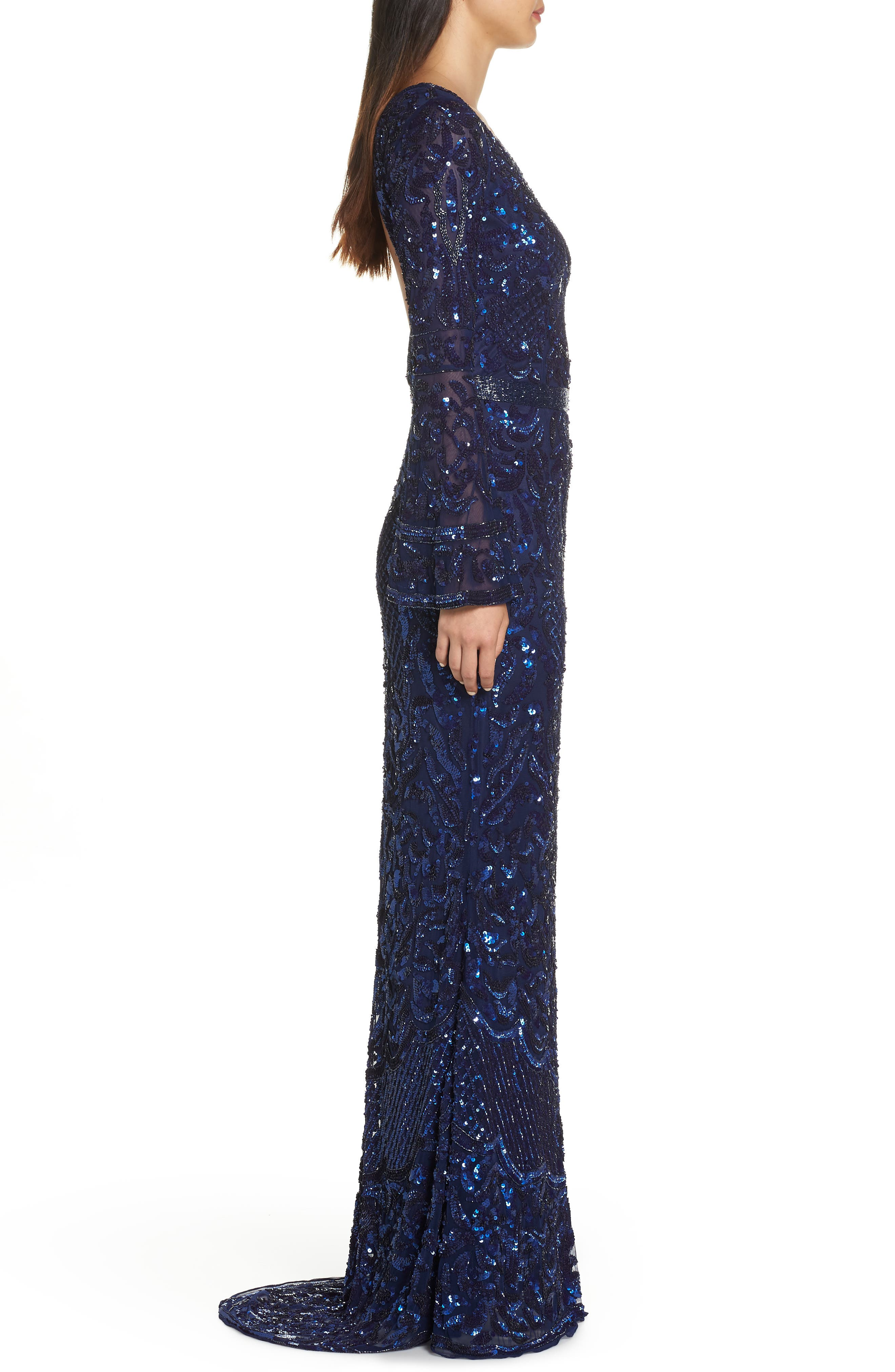 Sequin Bell Sleeve Gown,                             Alternate thumbnail 4, color,                             MIDNIGHT