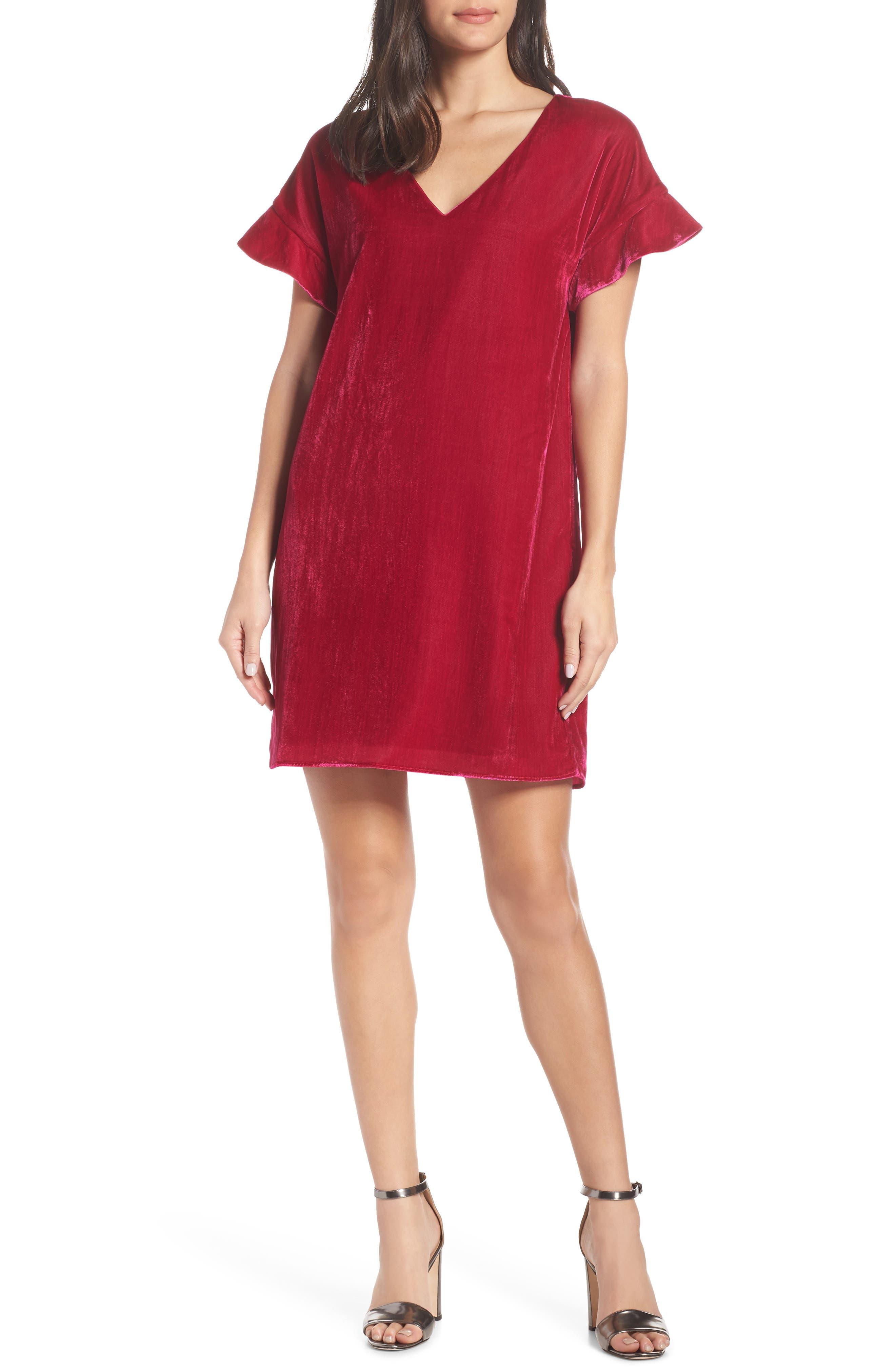 Charles Henry V-Neck Velvet Shift Dress, Pink