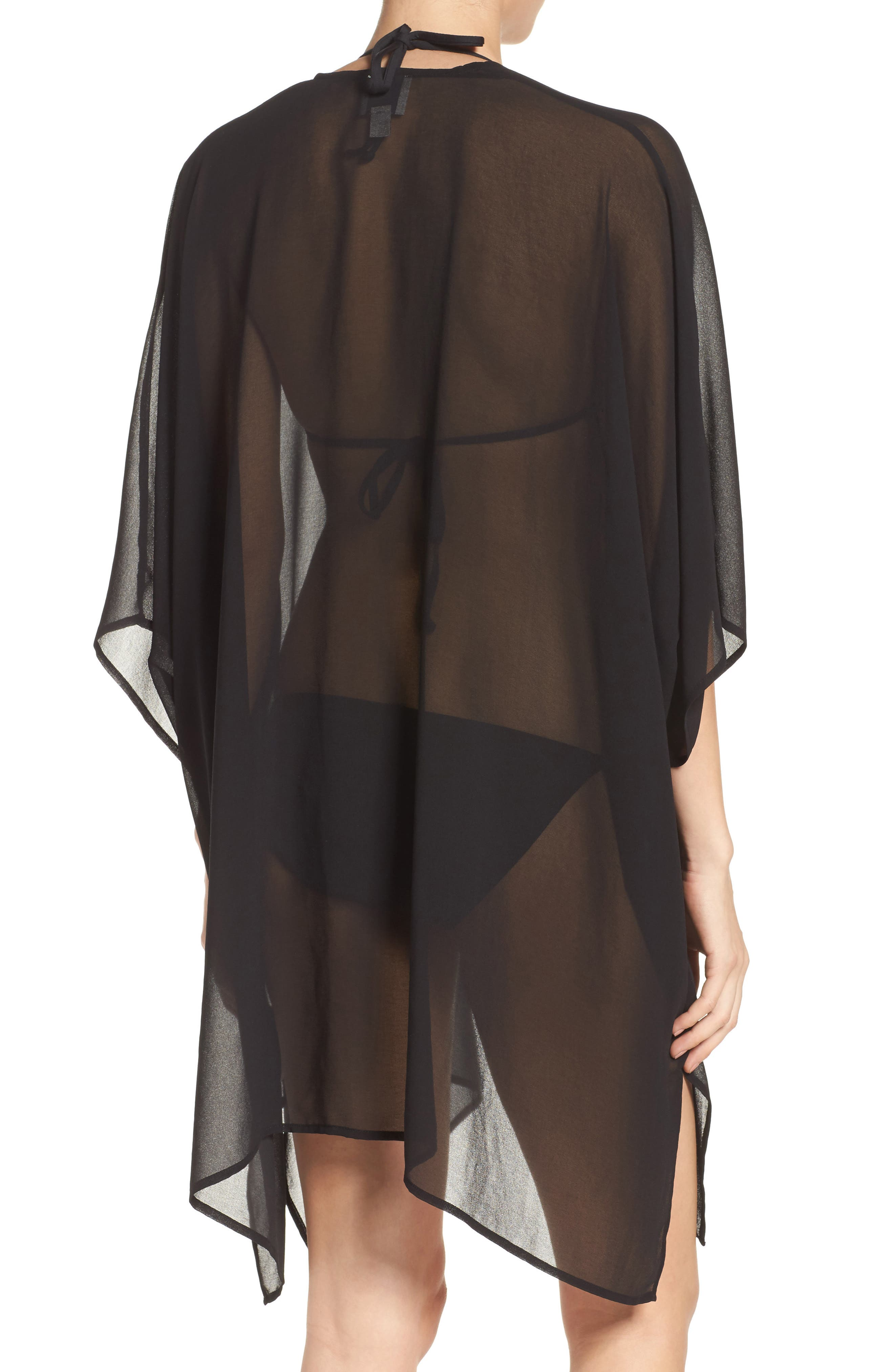 Chiffon Cover-Up Kimono,                             Alternate thumbnail 2, color,                             BLACK
