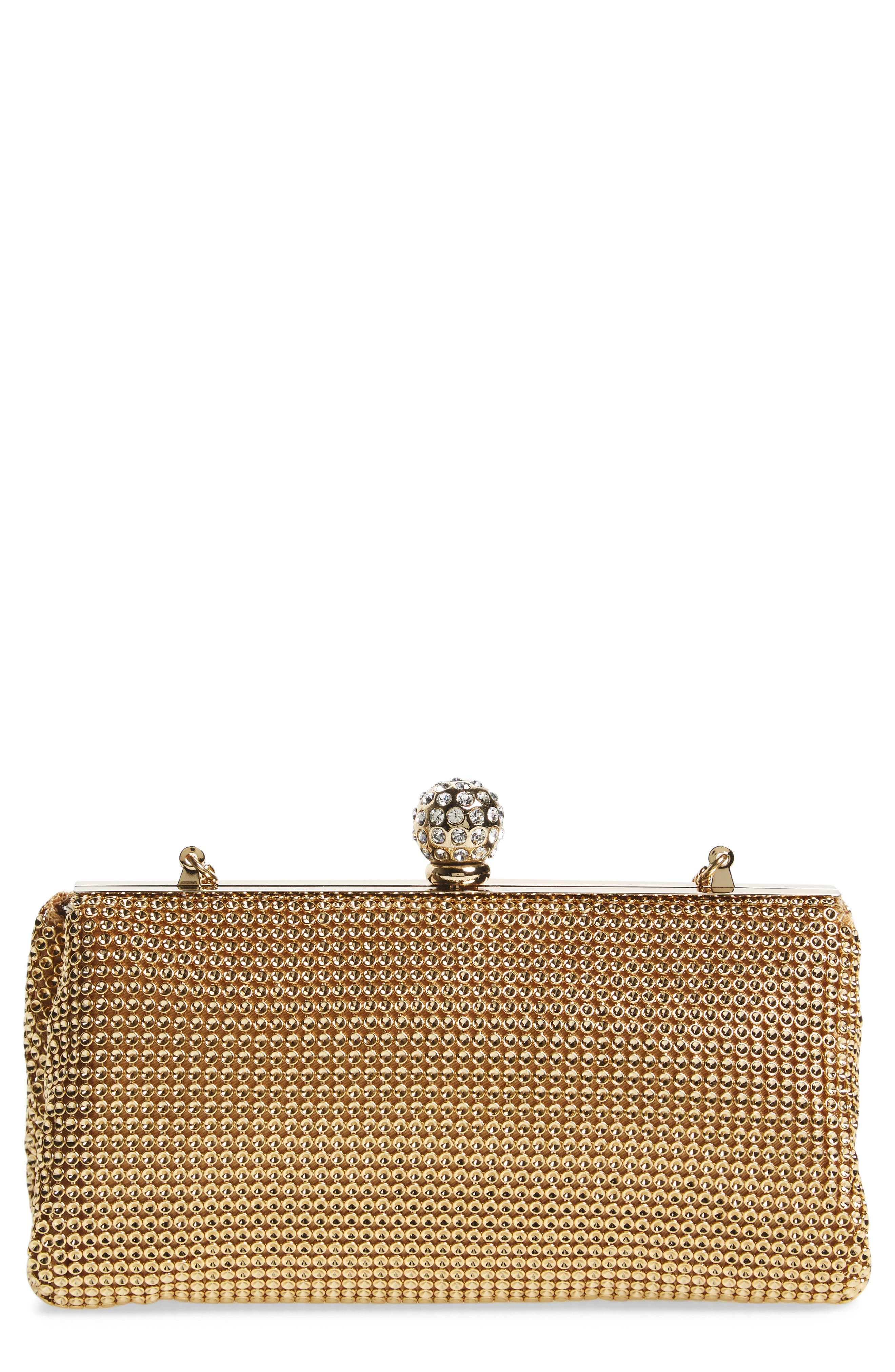 'Crystal' Mesh Clutch,                         Main,                         color, GOLD
