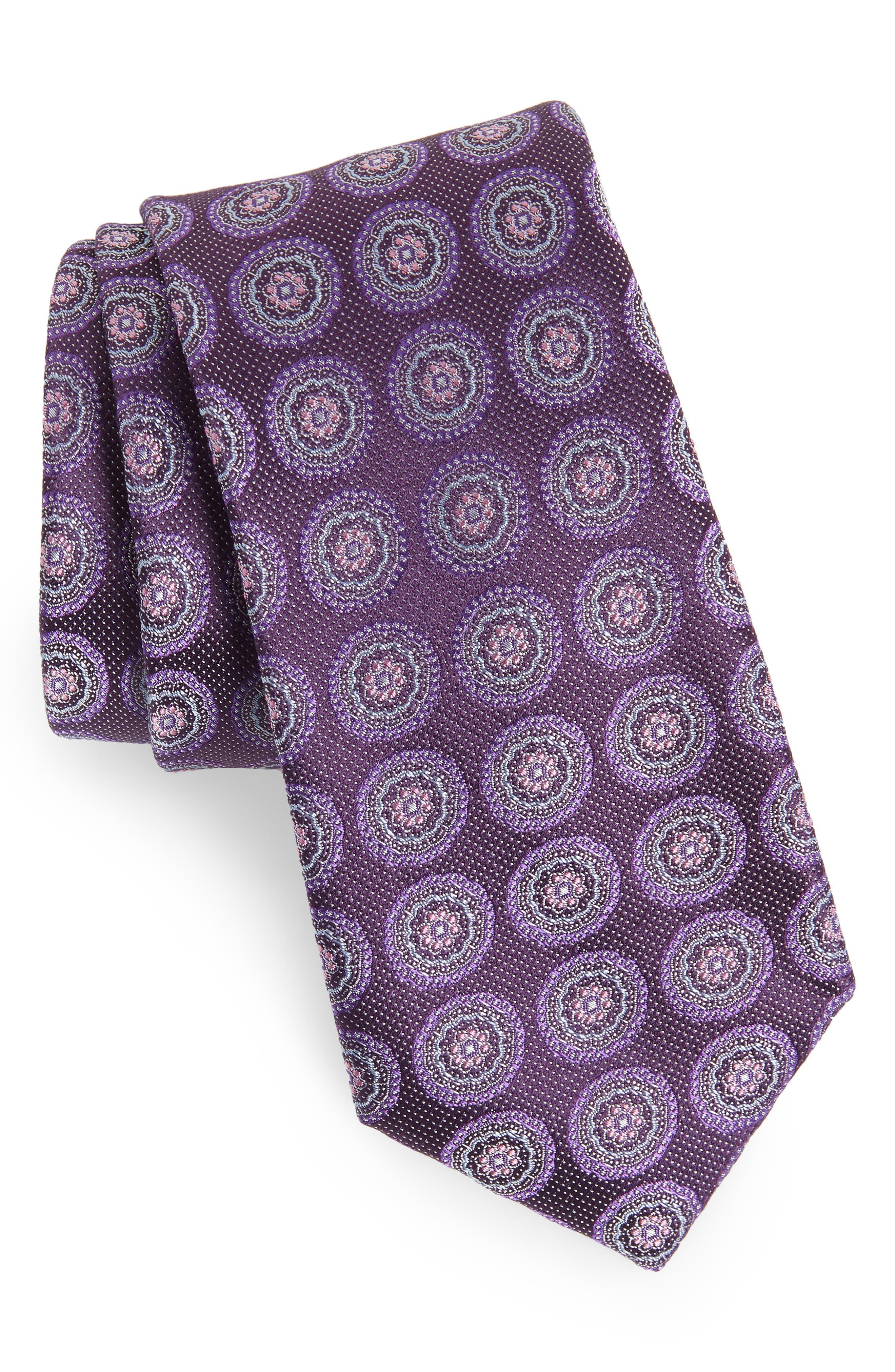 Pinpoint Medallion Silk Tie,                         Main,                         color, DARK FASHION PURPLE