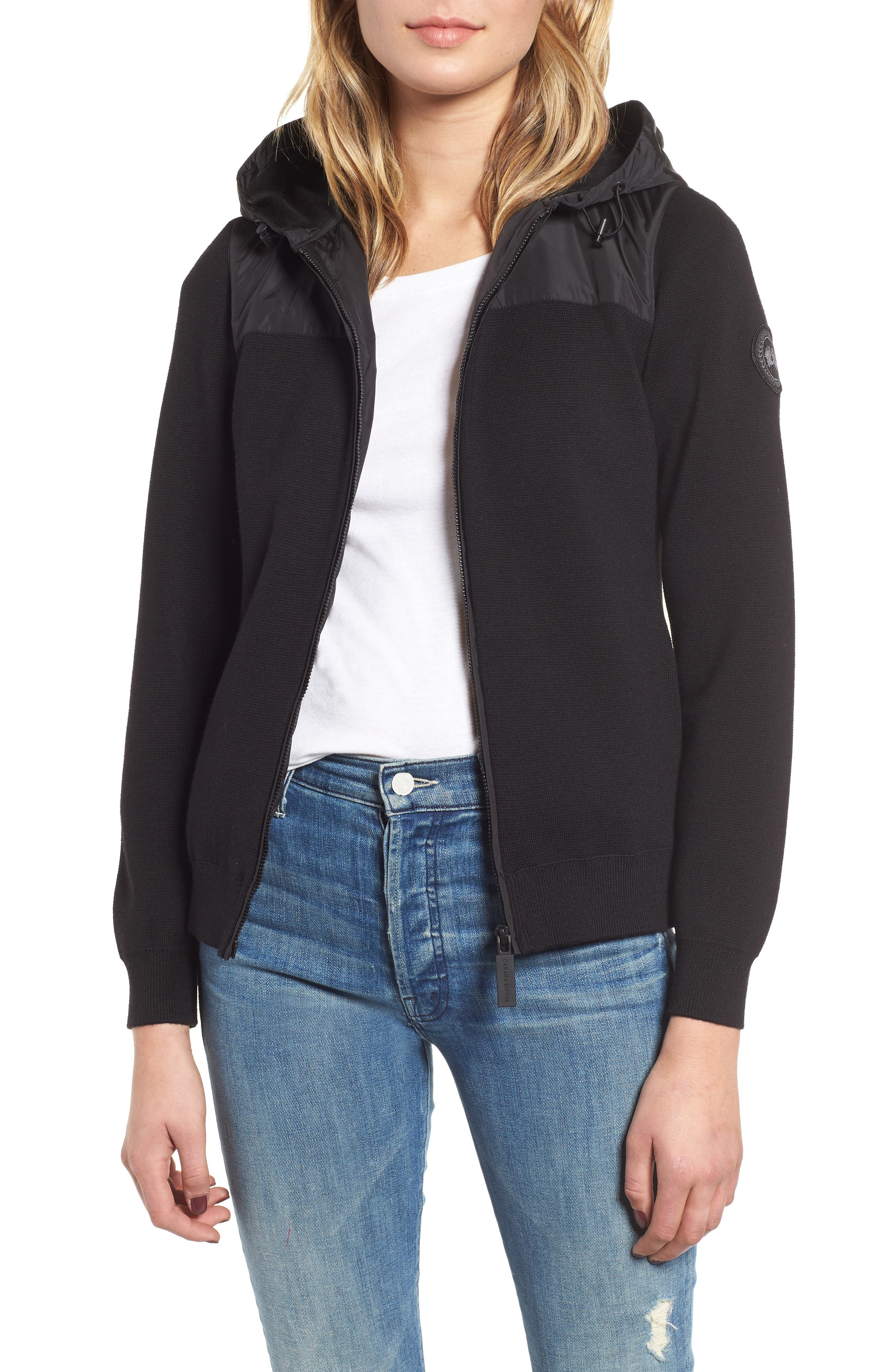 Windbridge Wool & Nylon Hoodie Jacket in Black