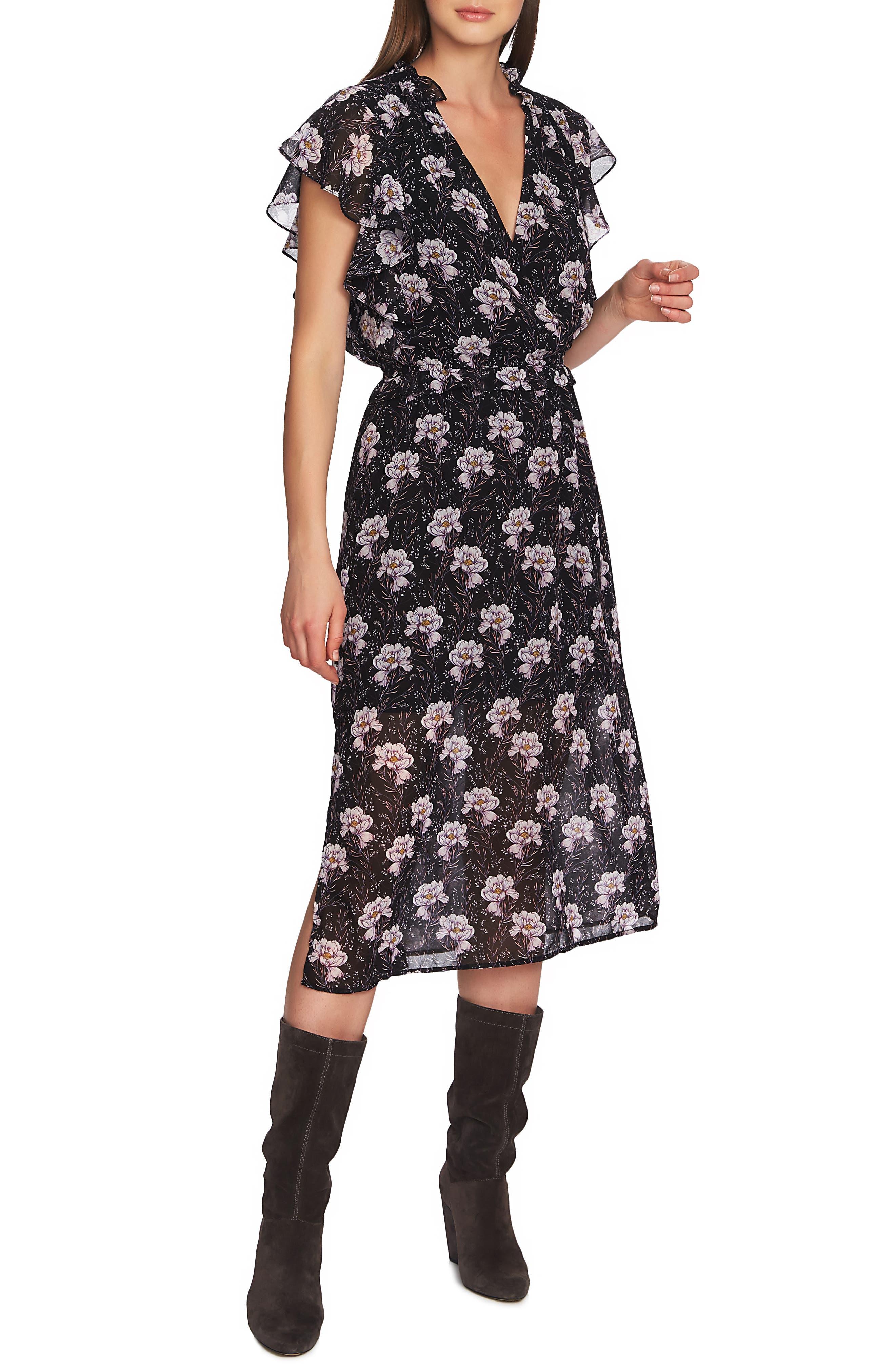 1.state Bloomsbury Floral Ruffle Sleeve Midi Dress, Black