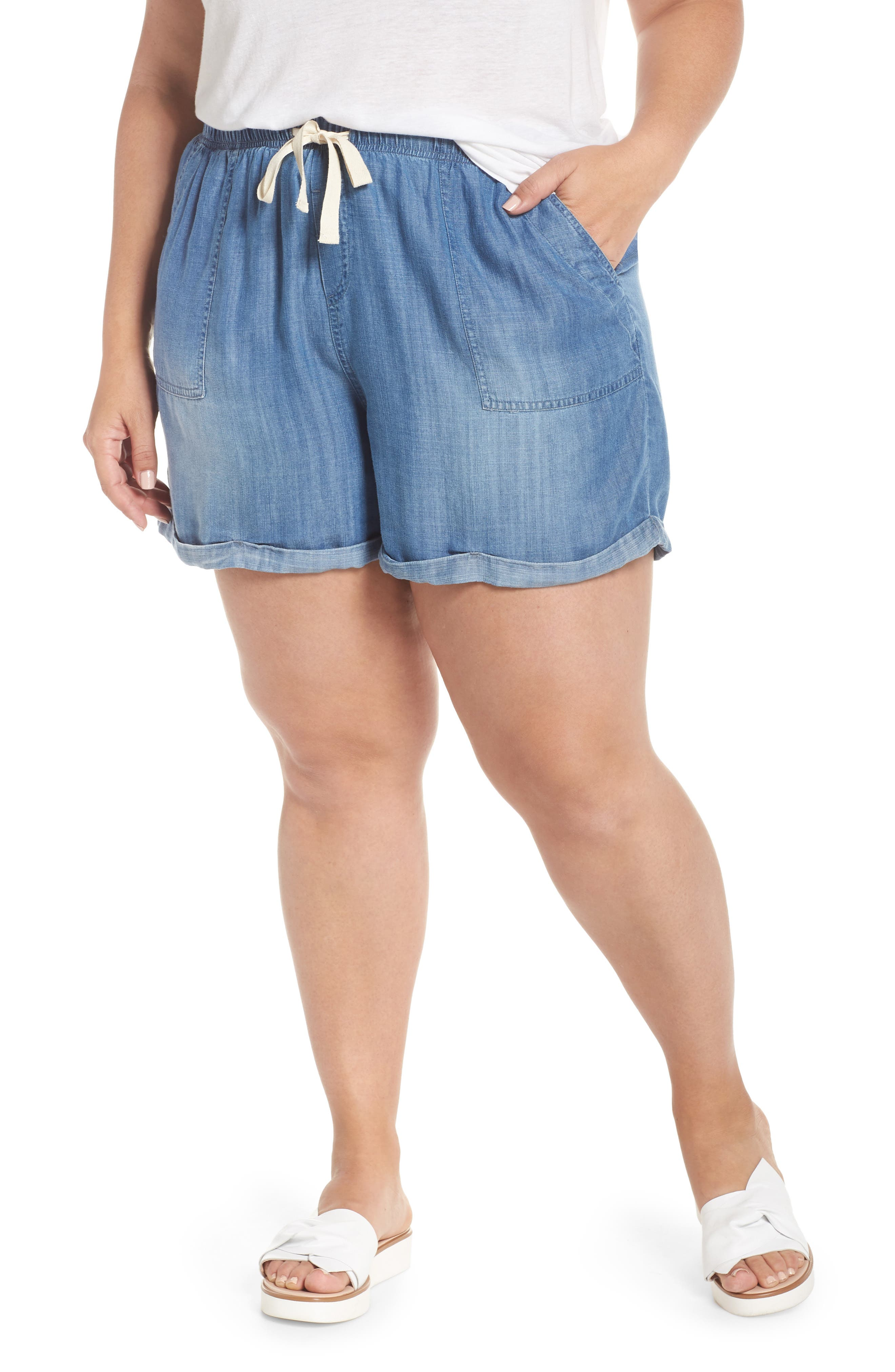 Drawstring Chambray Shorts,                             Main thumbnail 1, color,                             MEDIUM WASH