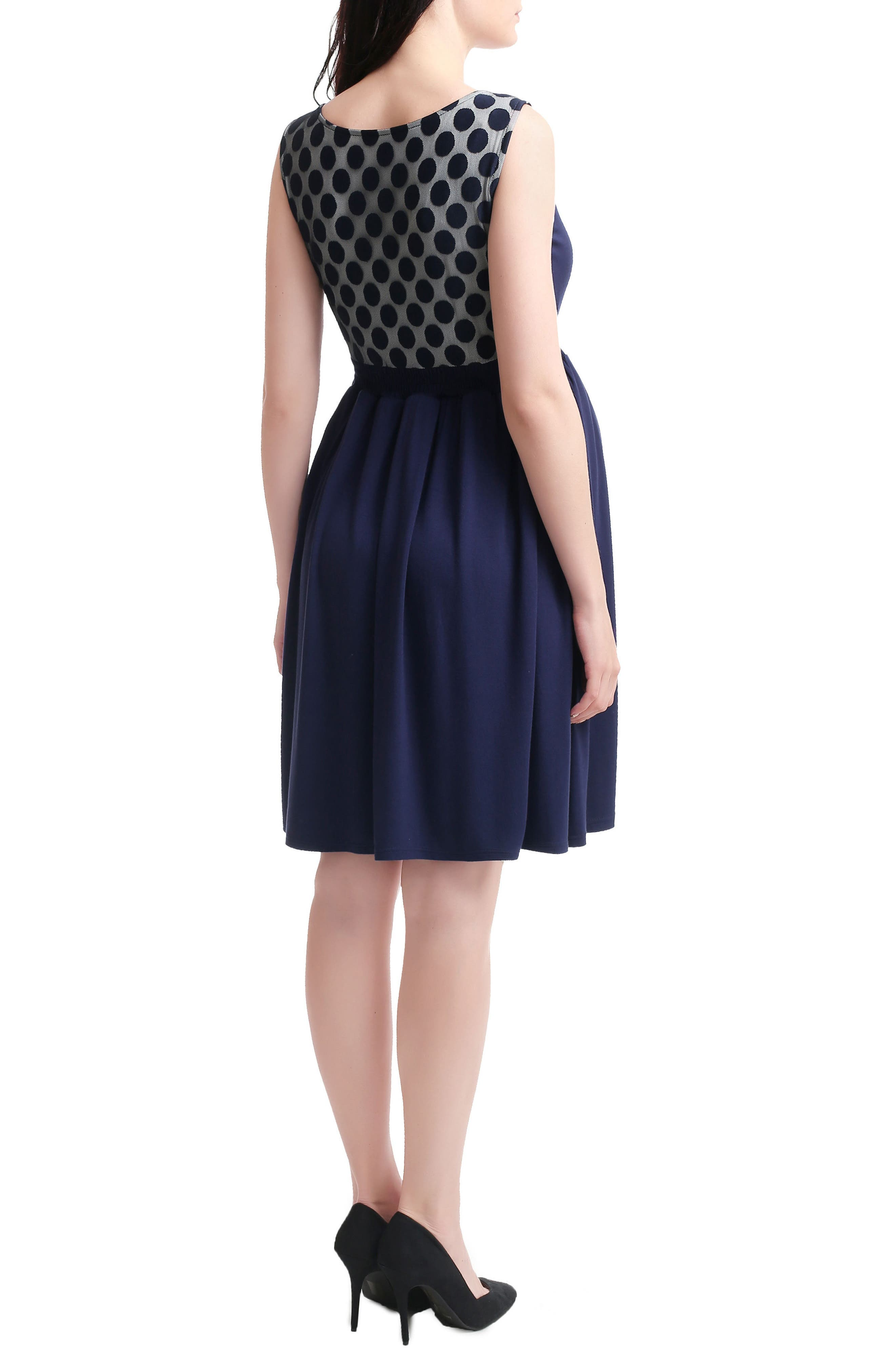 Tegan Maternity/Nursing Skater Dress,                             Alternate thumbnail 2, color,                             NAVY