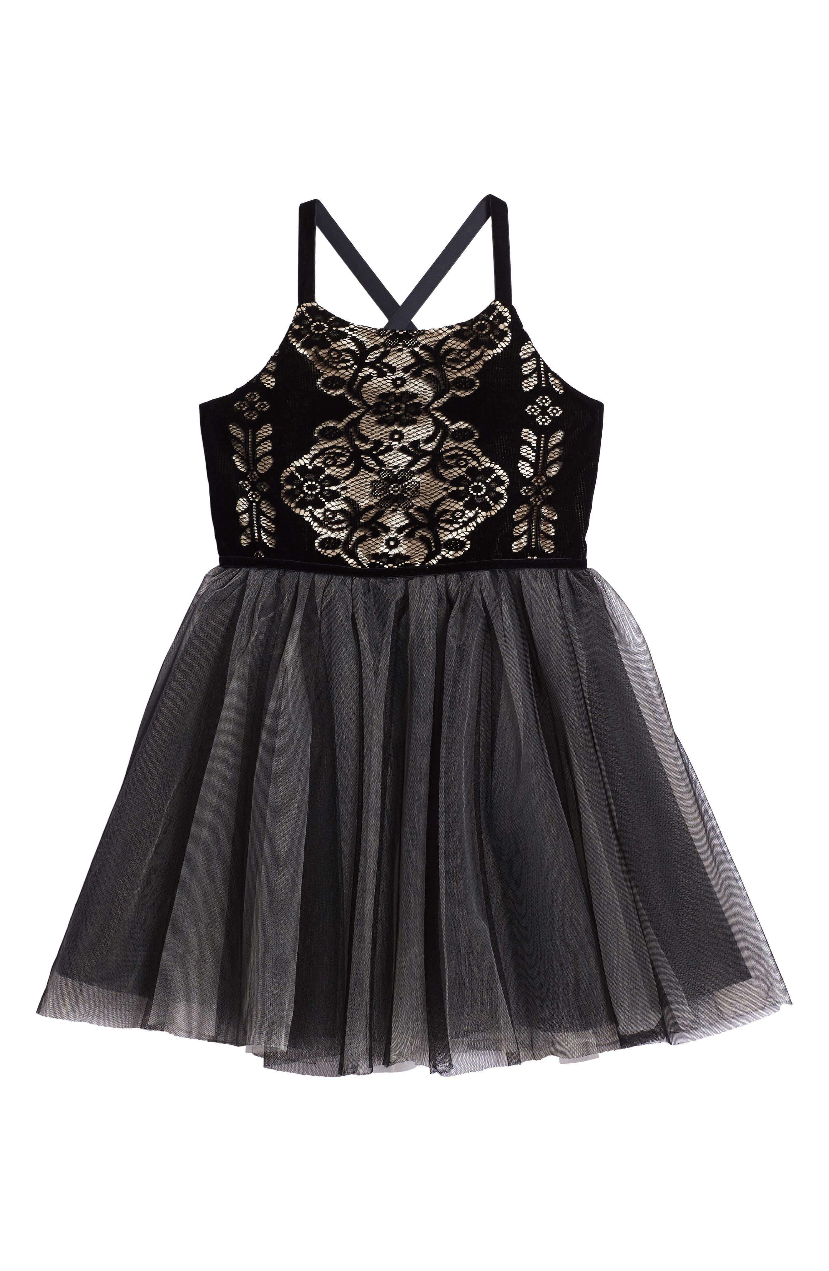 Burnout Lace Velvet & Tulle Dress,                             Main thumbnail 1, color,                             001