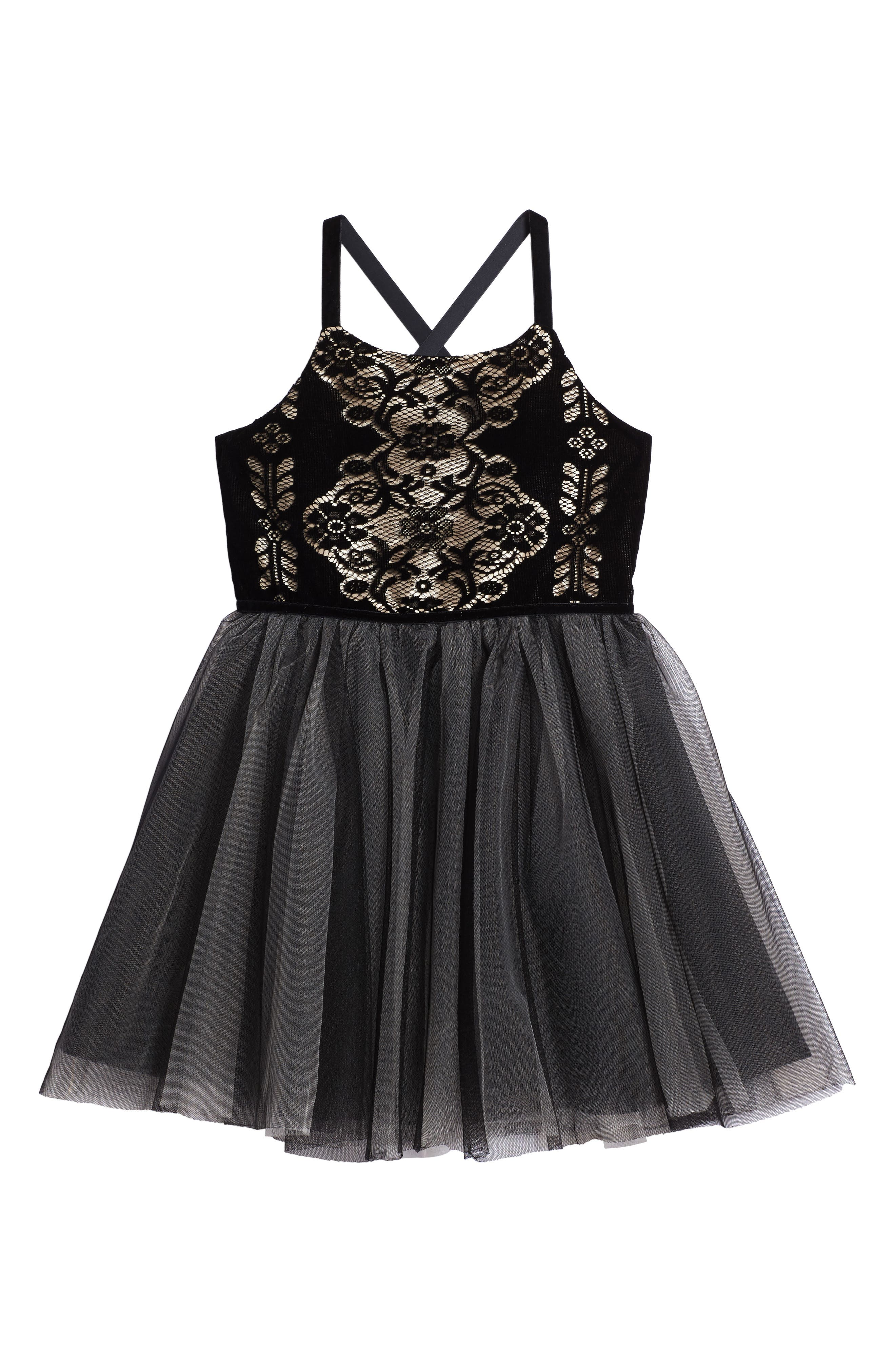 Burnout Lace Velvet & Tulle Dress,                         Main,                         color, 001