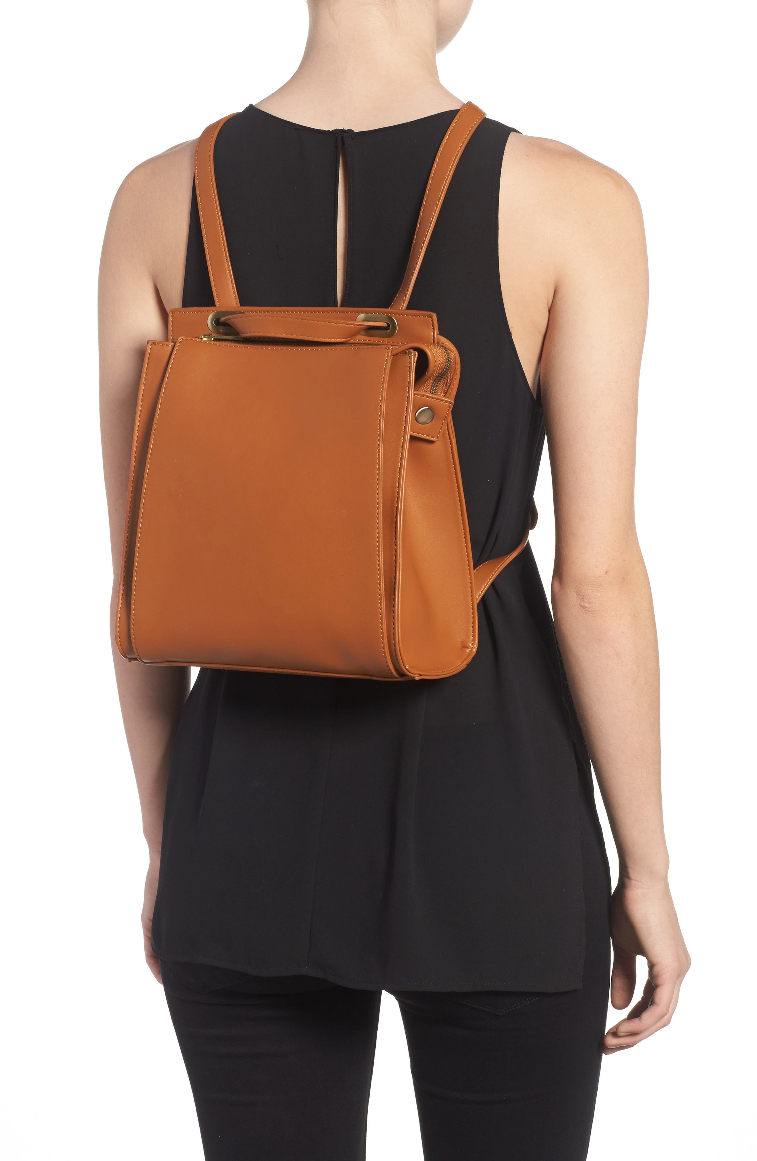 Faux Leather Convertible Backpack,                             Alternate thumbnail 4, color,