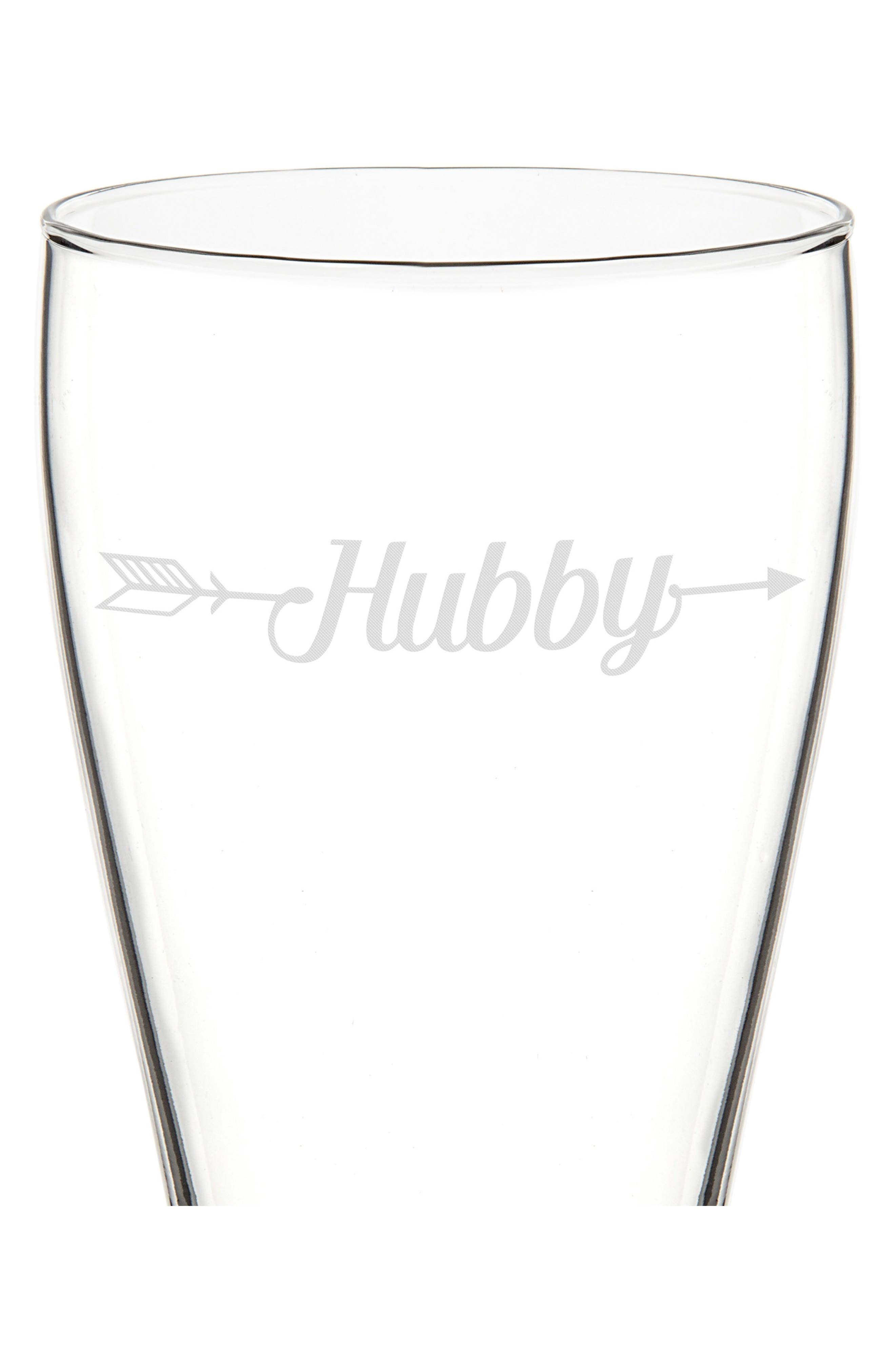 Hubby/Wifey Set of 2 Pilsner Glasses,                             Alternate thumbnail 6, color,                             100