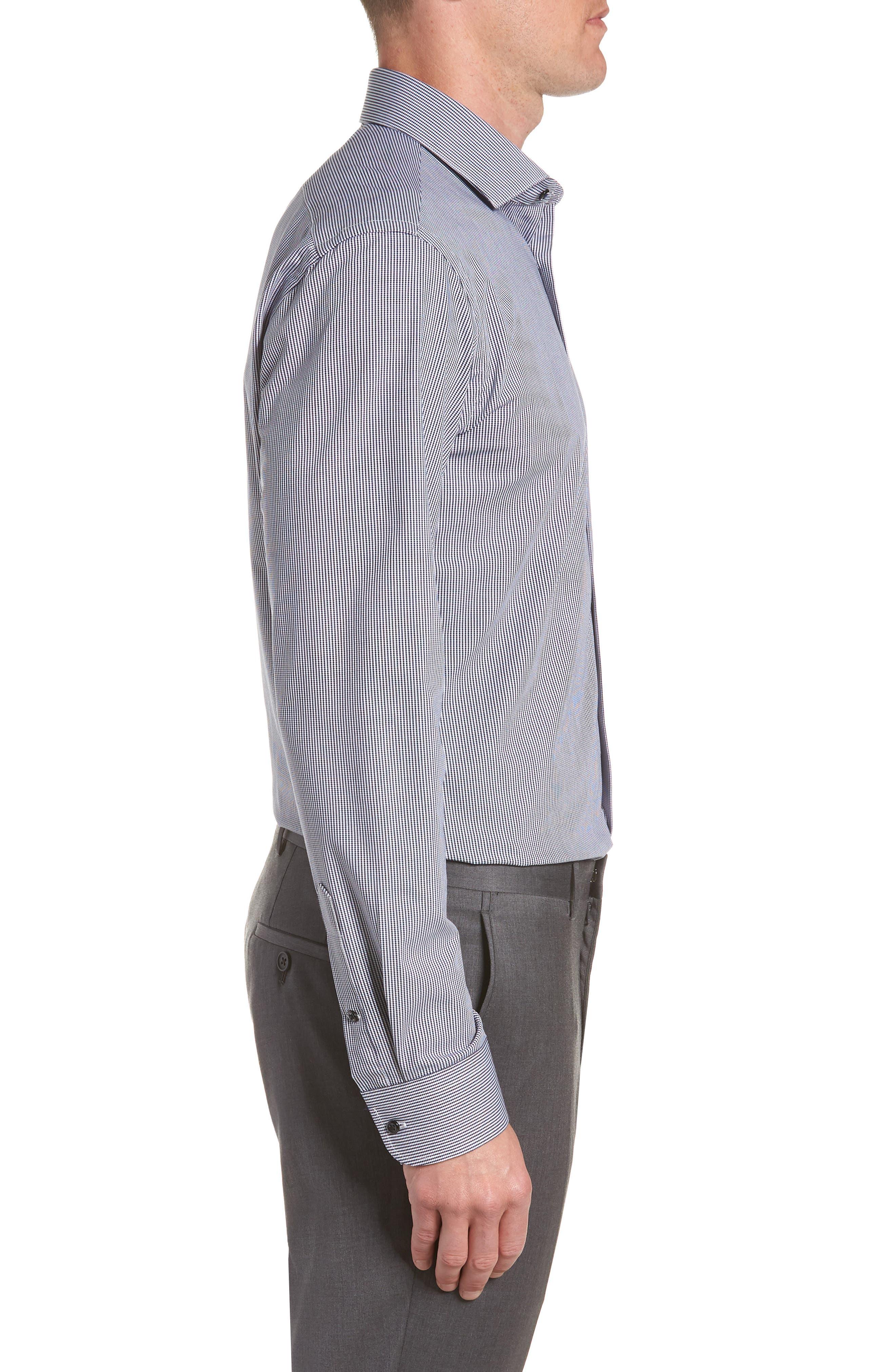 Tech-Smart Trim Fit Houndstooth Dress Shirt,                             Alternate thumbnail 7, color,