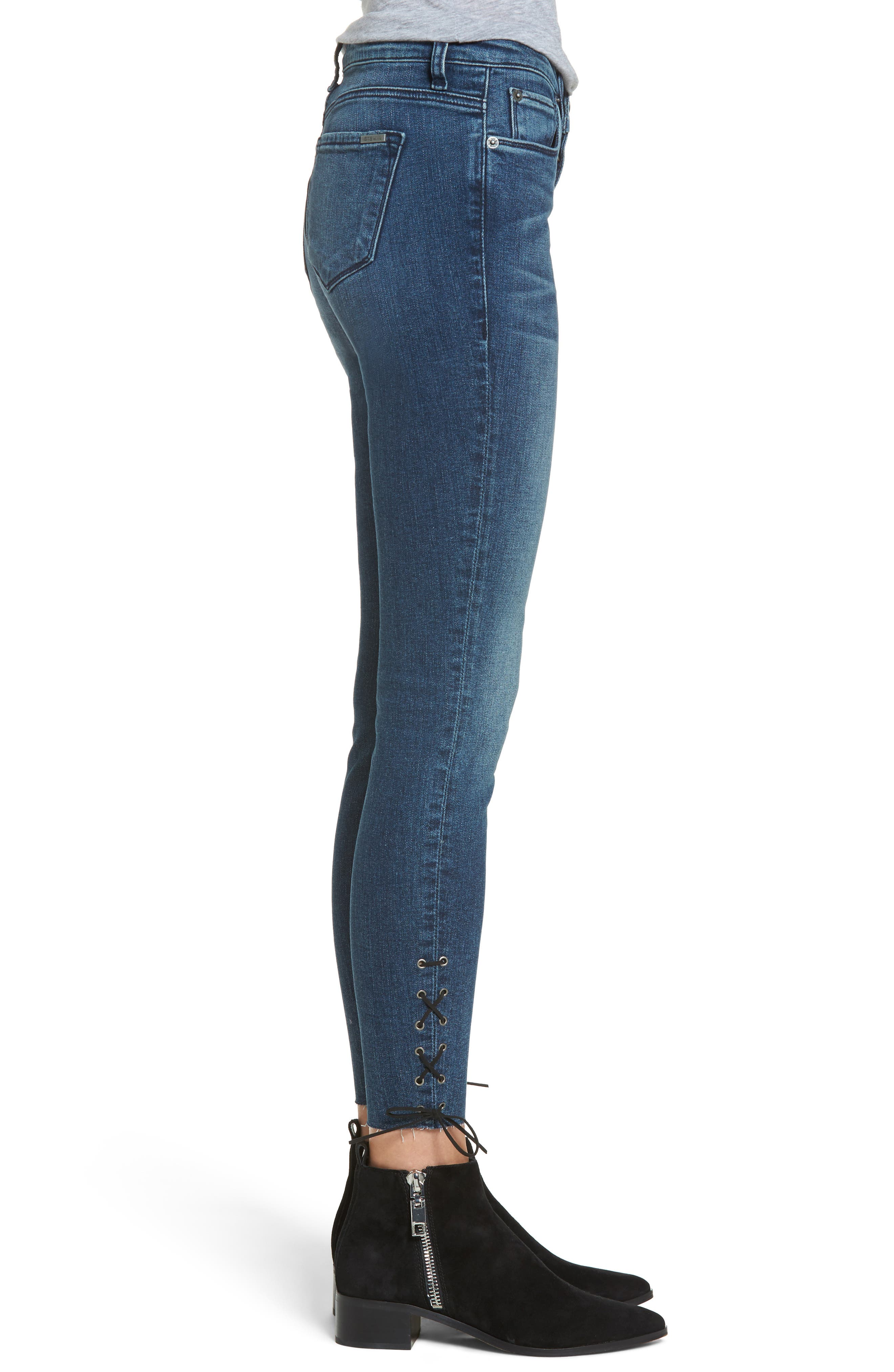 Emma Lace-Up Ankle Skinny Jeans,                             Alternate thumbnail 3, color,                             400
