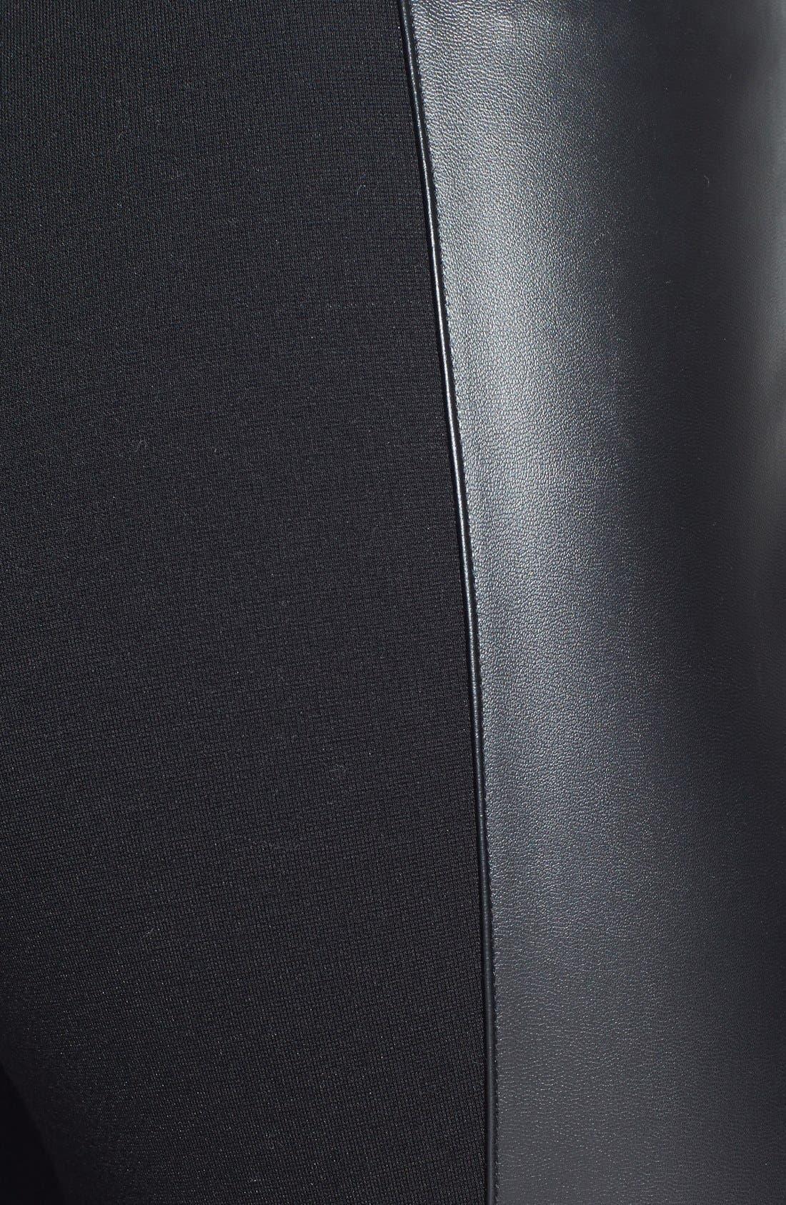 Faux Leather Stripe Ankle Zip Moto Leggings,                             Alternate thumbnail 3, color,                             001