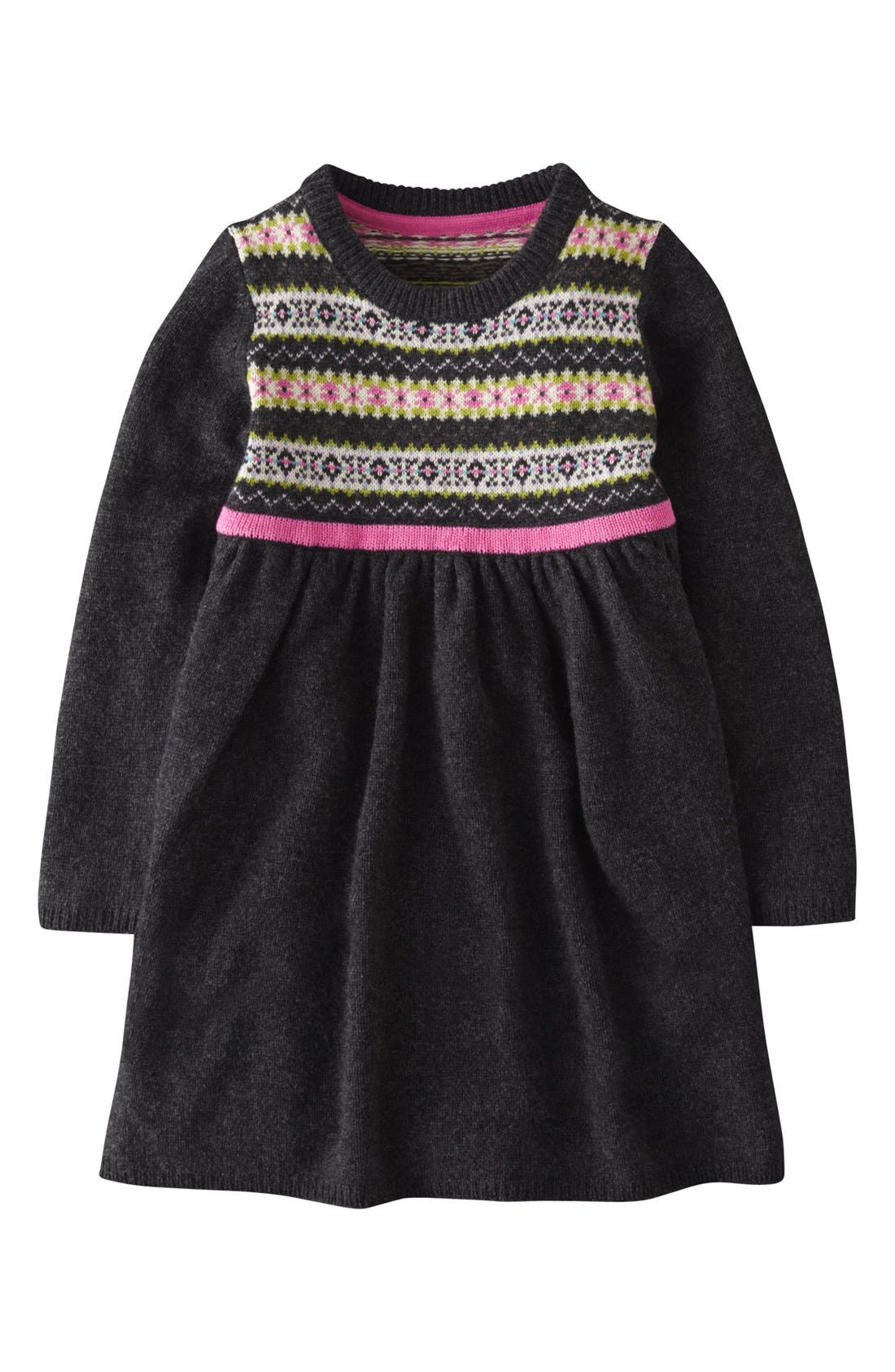 MINI BODEN Fair Isle Knit Dress, Main, color, 024