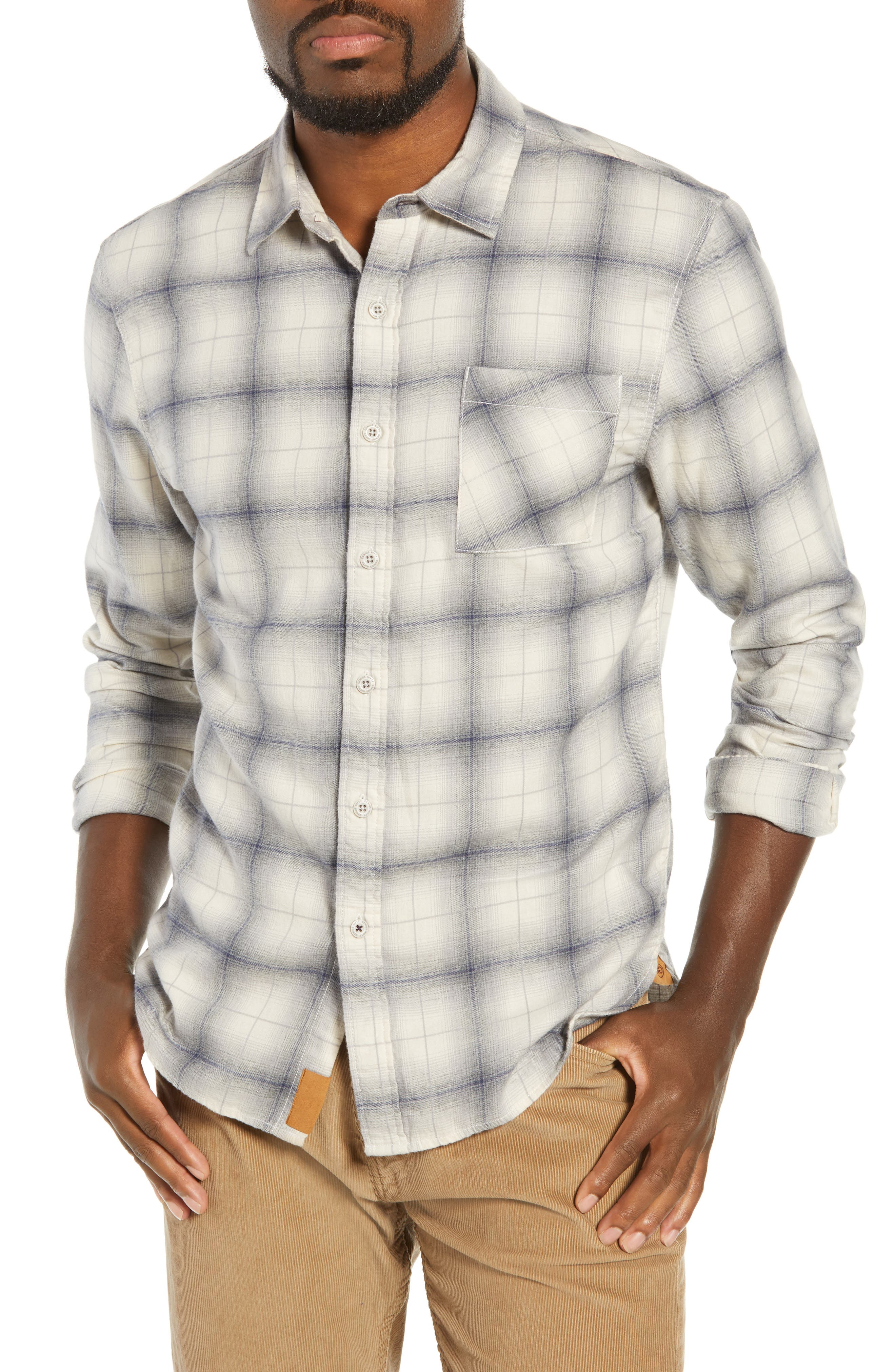 Truman Brushed Plaid Sport Shirt,                         Main,                         color, GREY/ NAVY/ WHITE