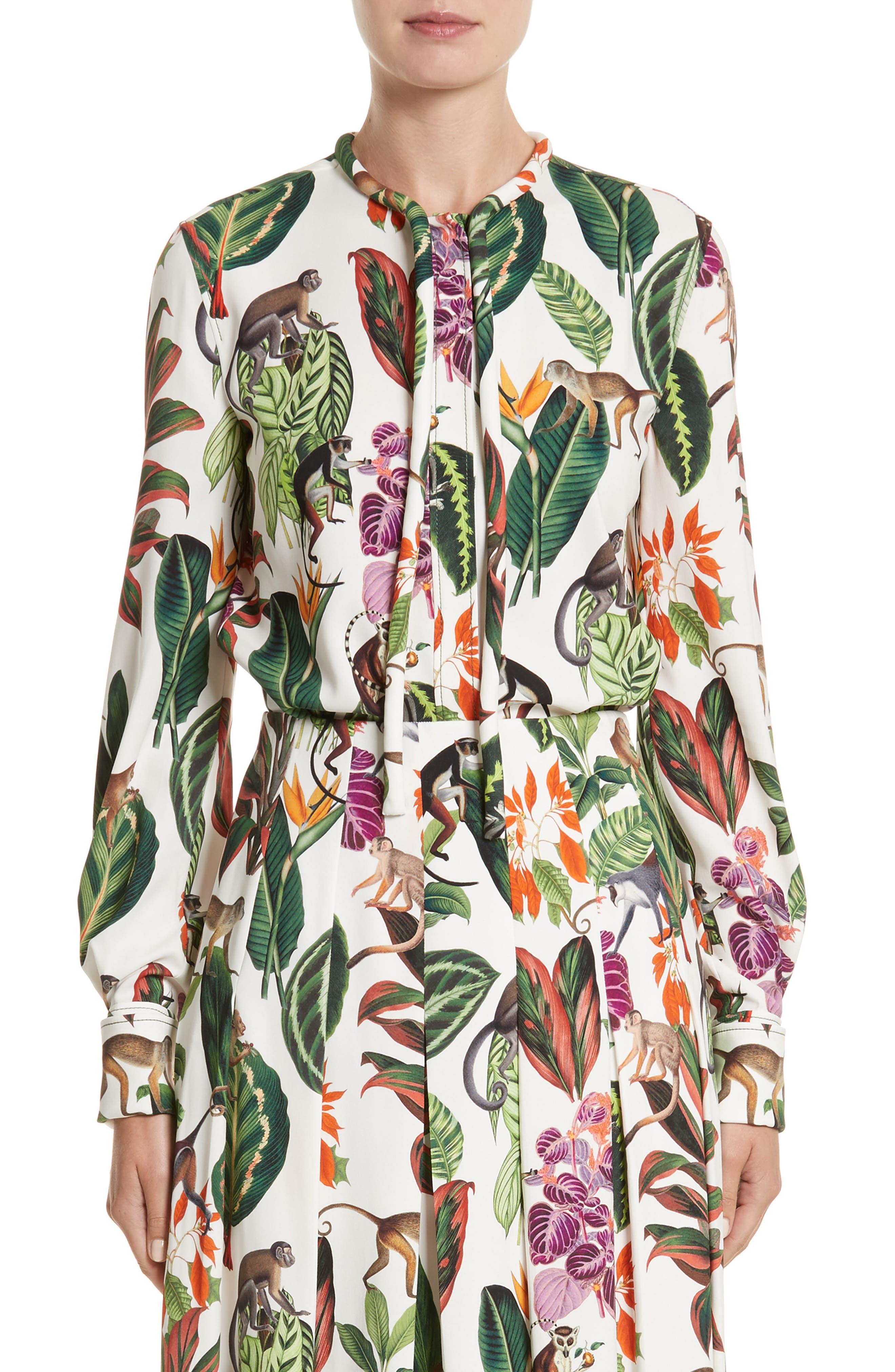 Jungle Print Georgette Blouse,                         Main,                         color, 300