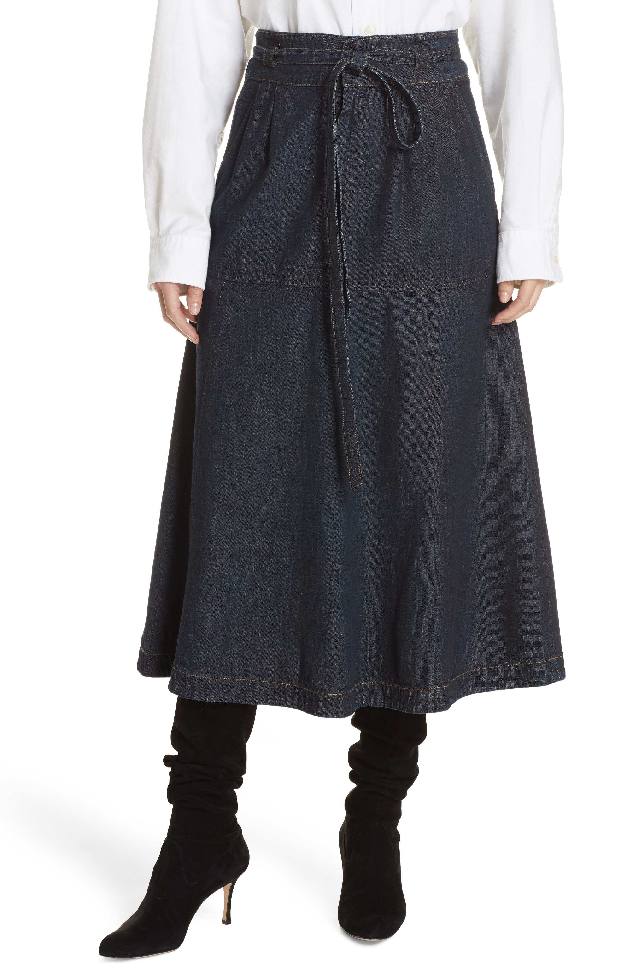 Denim Midi Skirt,                             Main thumbnail 1, color,                             DARK INDIGO