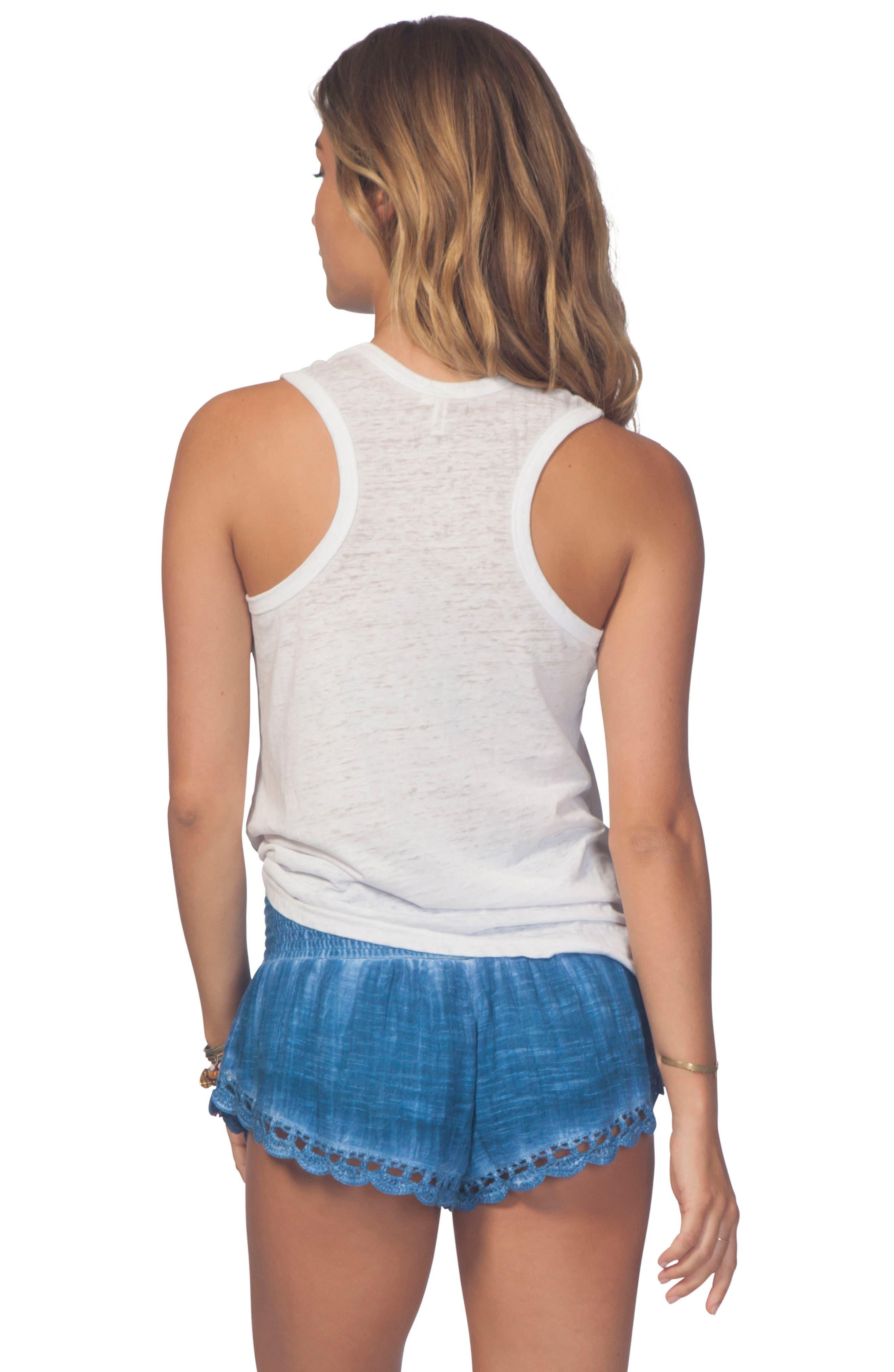 Dream Beam Cotton Beach Shorts,                             Alternate thumbnail 3, color,                             MID BLUE