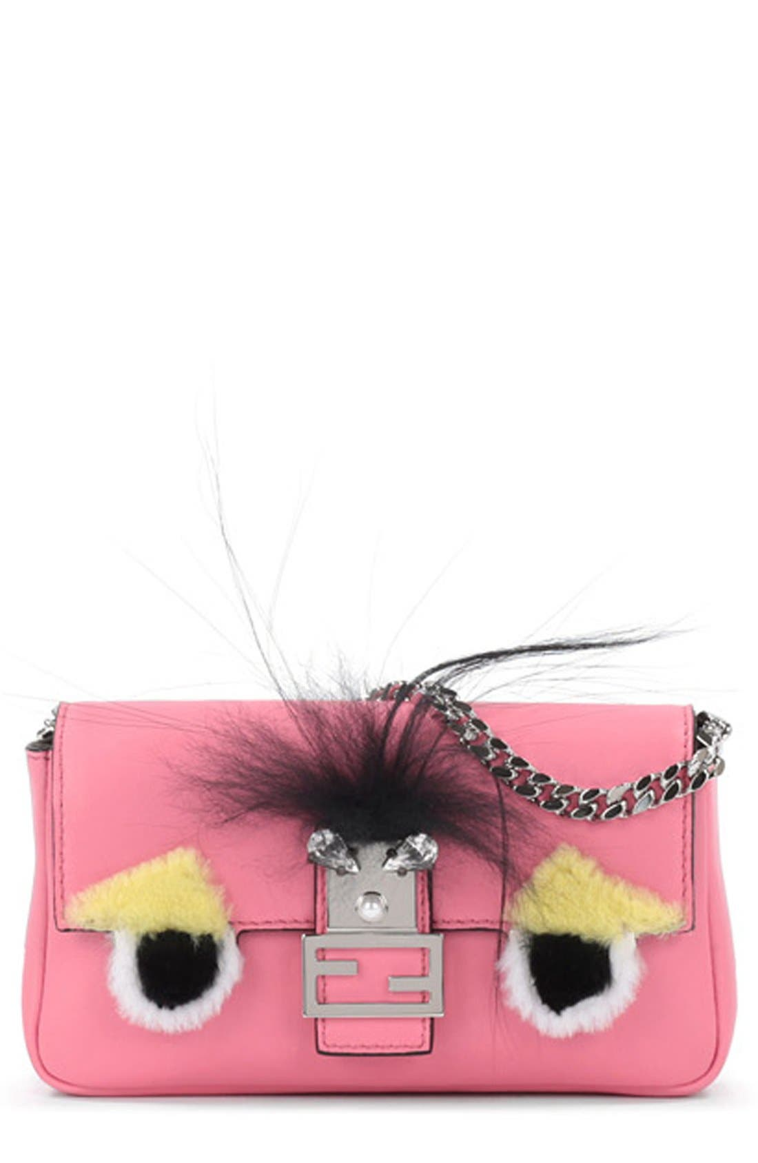'Monster' Genuine Rabbit Fur & Genuine Fox Fur Micro Baguette,                             Main thumbnail 1, color,                             FLUO PINK/ MULTI