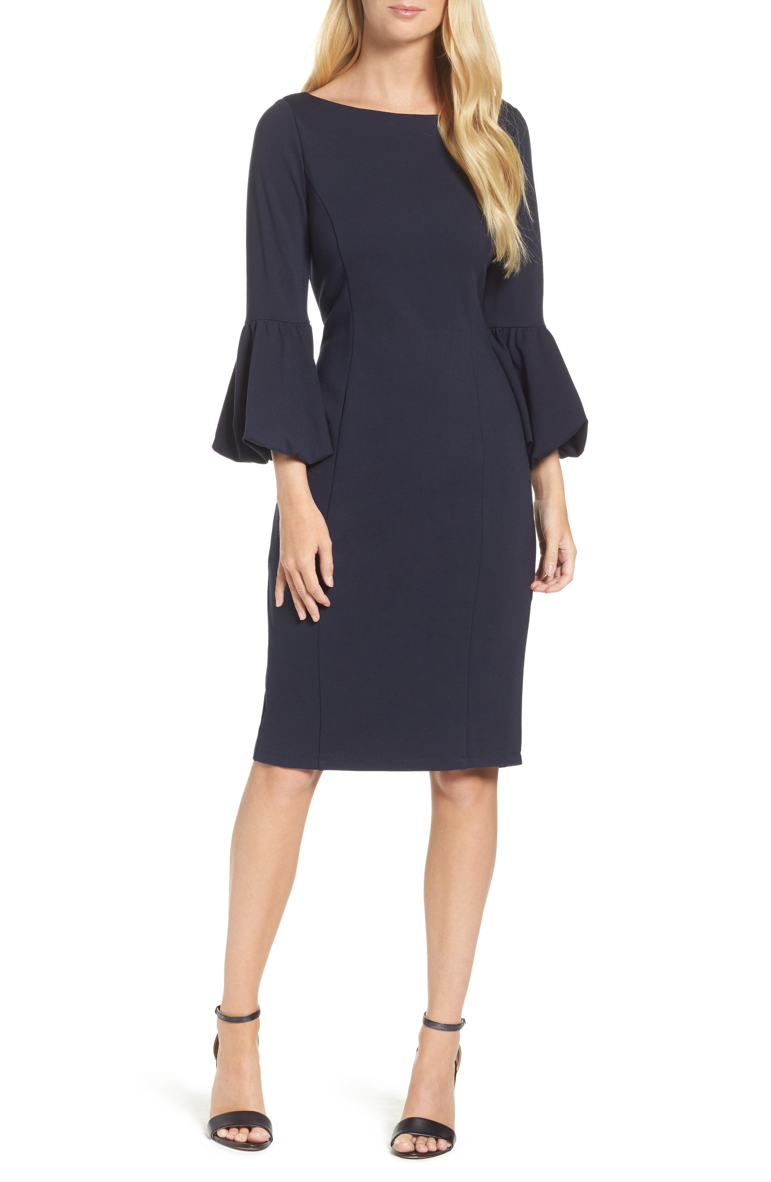 Ruffle Sleeve Sheath Dress,                             Main thumbnail 1, color,                             NAVY