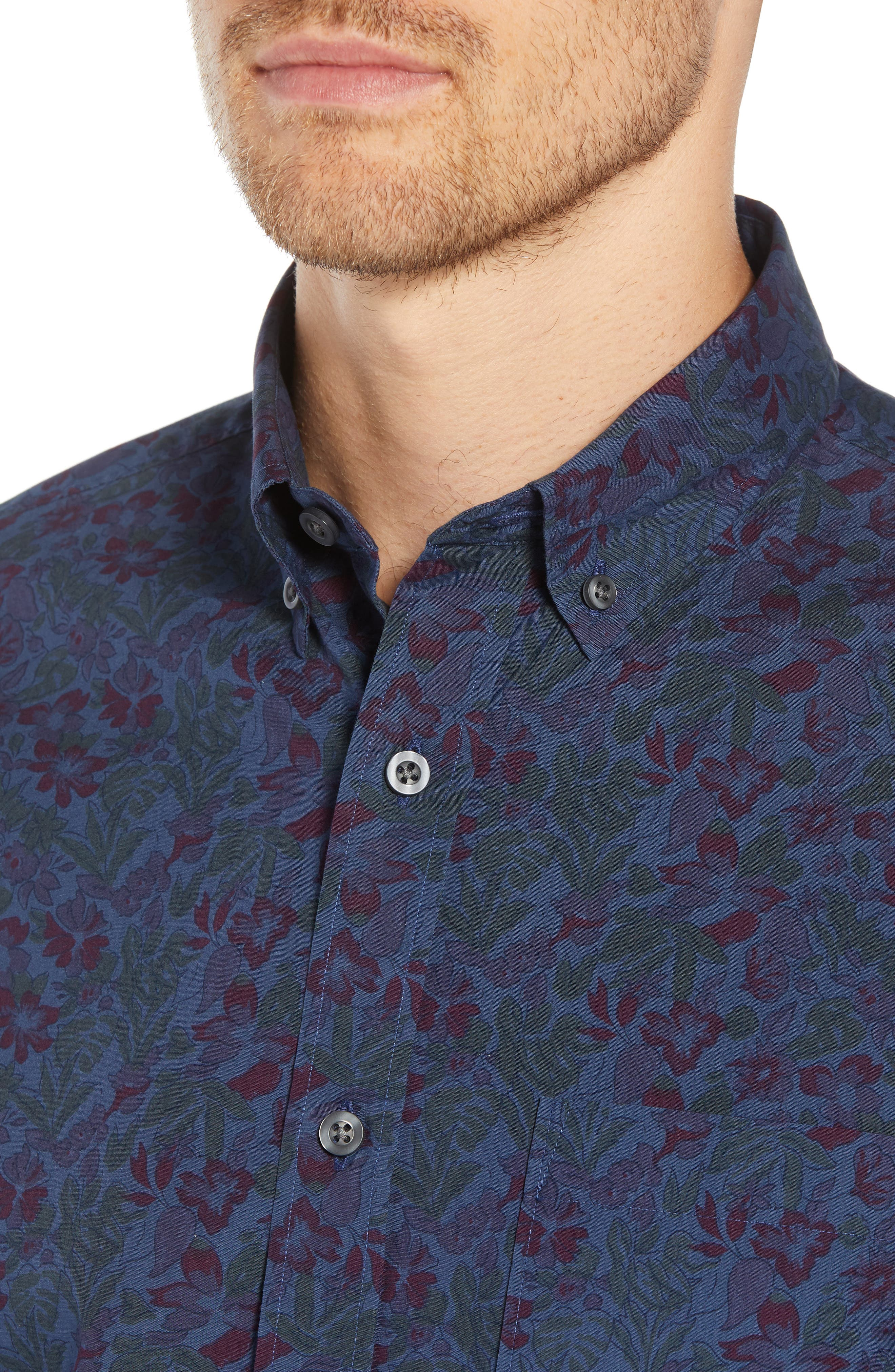 Trim Fit Floral Print Sport Shirt,                             Alternate thumbnail 4, color,                             NAVY TROPICAL CHAMBRAY PRINT
