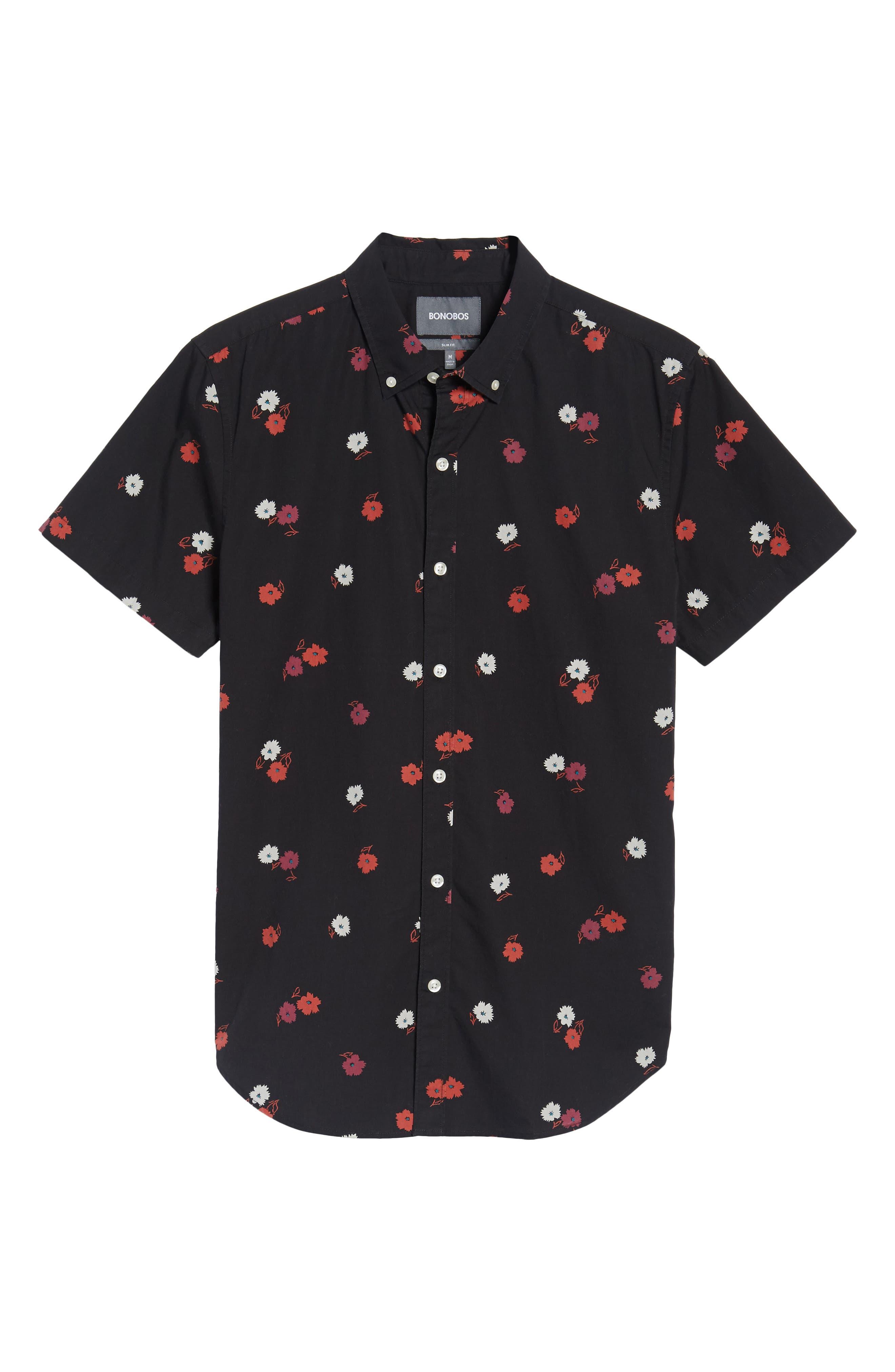 Slim Fit Floral Print Sport Shirt,                             Alternate thumbnail 6, color,                             001