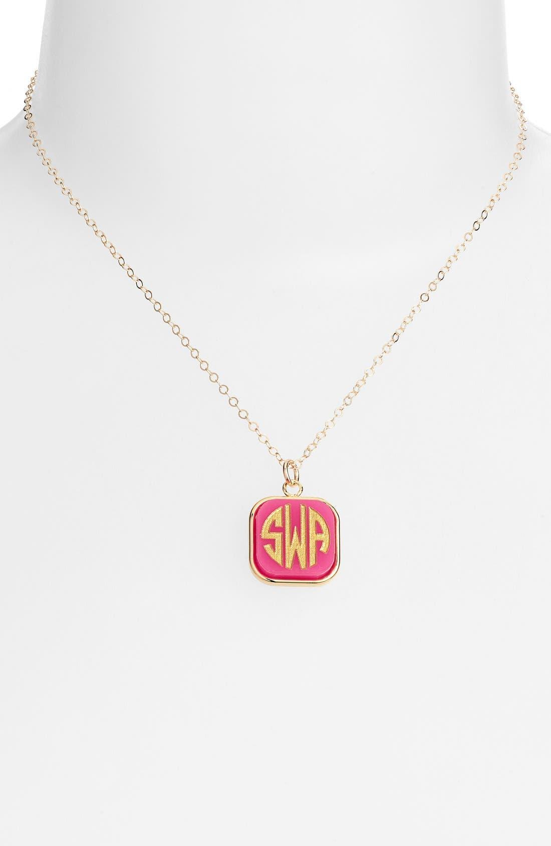 'Vineyard' Personalized Monogram Pendant Necklace,                             Alternate thumbnail 2, color,                             HOT PINK