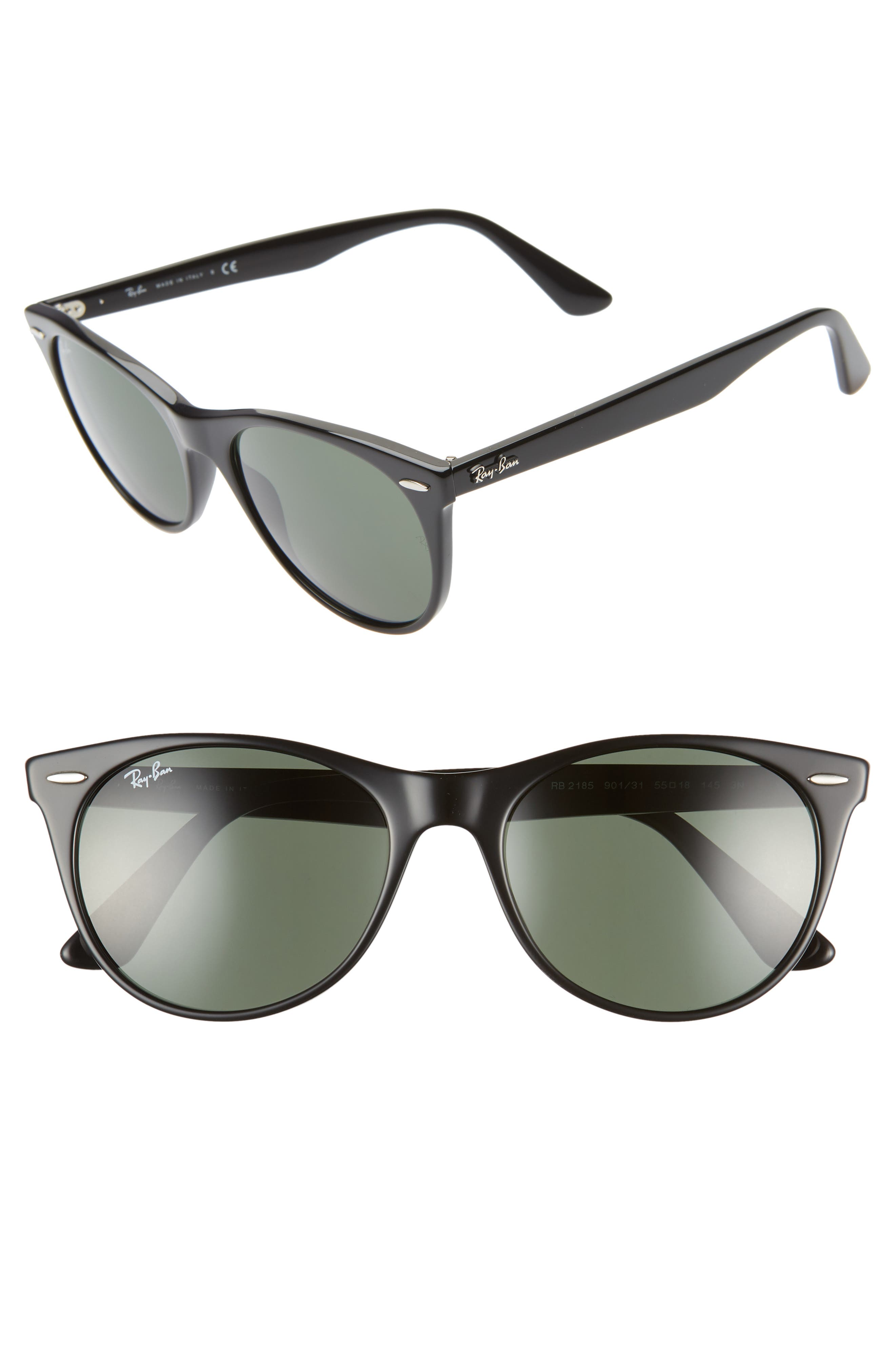 Ray-Ban 55Mm Round Wayfarer Sunglasses - Black Solid