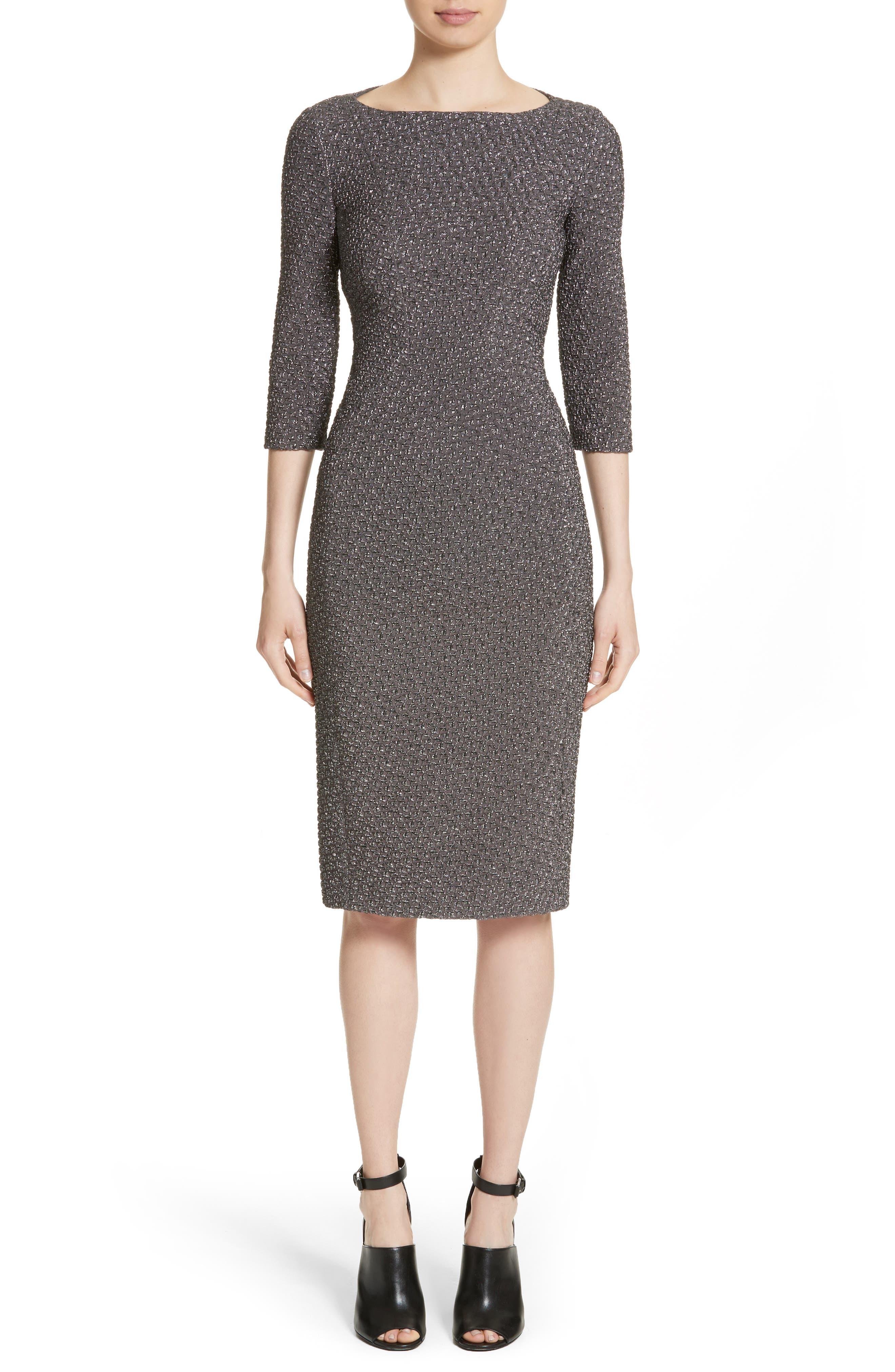 Houndstooth Stretch Metallic Jacquard Sheath Dress,                         Main,                         color, 029