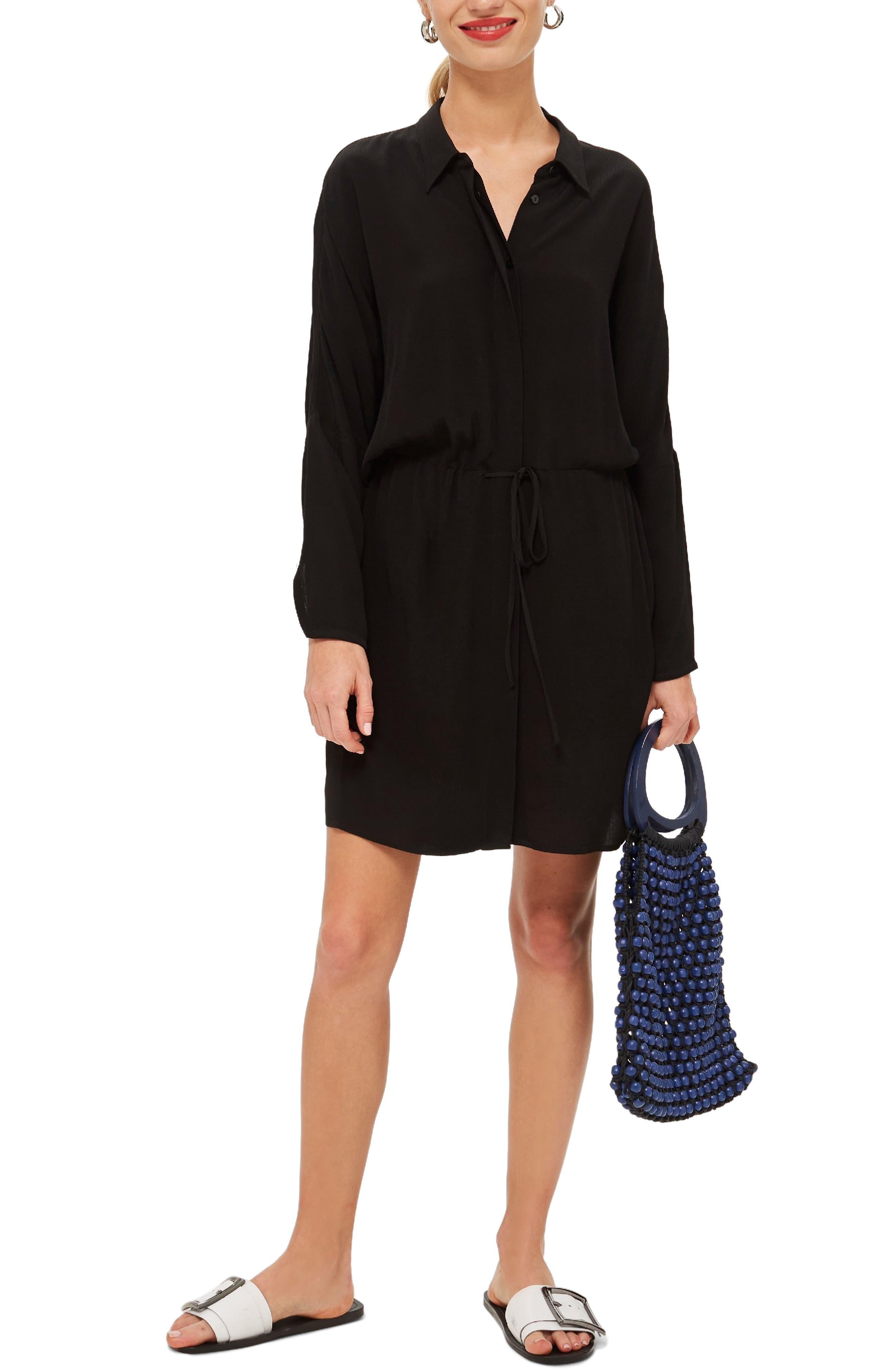Drawstring Stripe Shirtdress,                         Main,                         color, BLACK